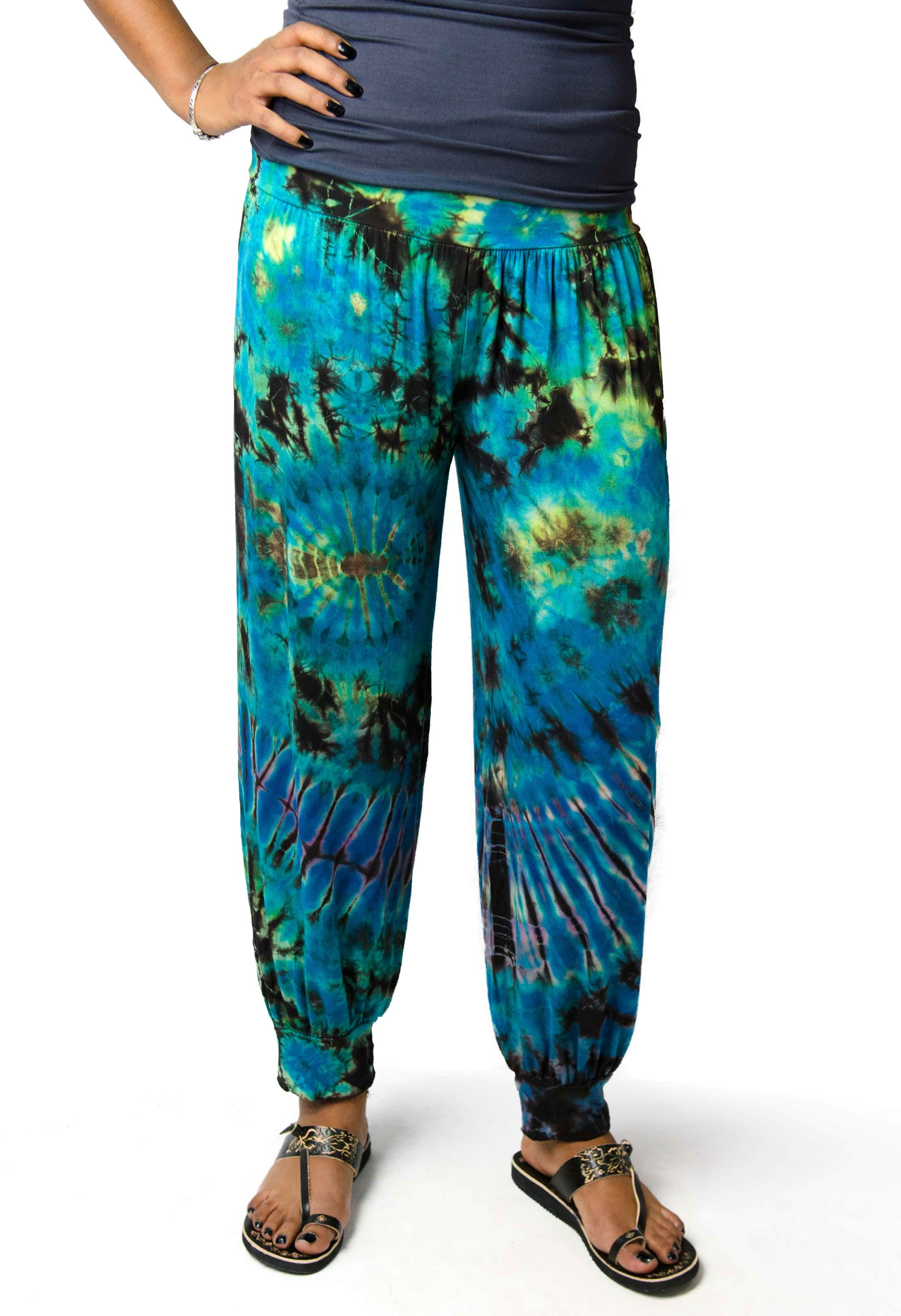 Harem Pants Hand Painted Tie Dye, Blue-Green  - 1914T