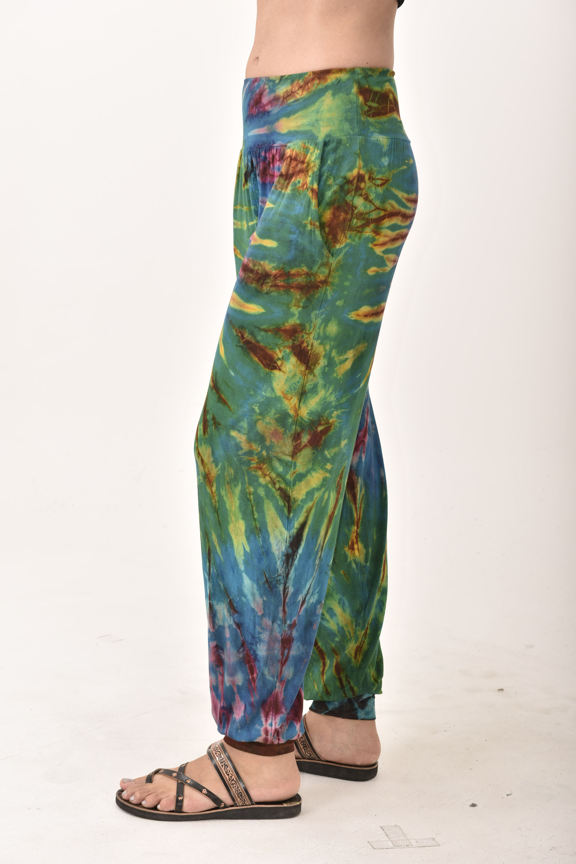 Hand Painted Tie Dye deluxe Harem Pants on higher quality Rayon/Spandex blend, Blue-Green