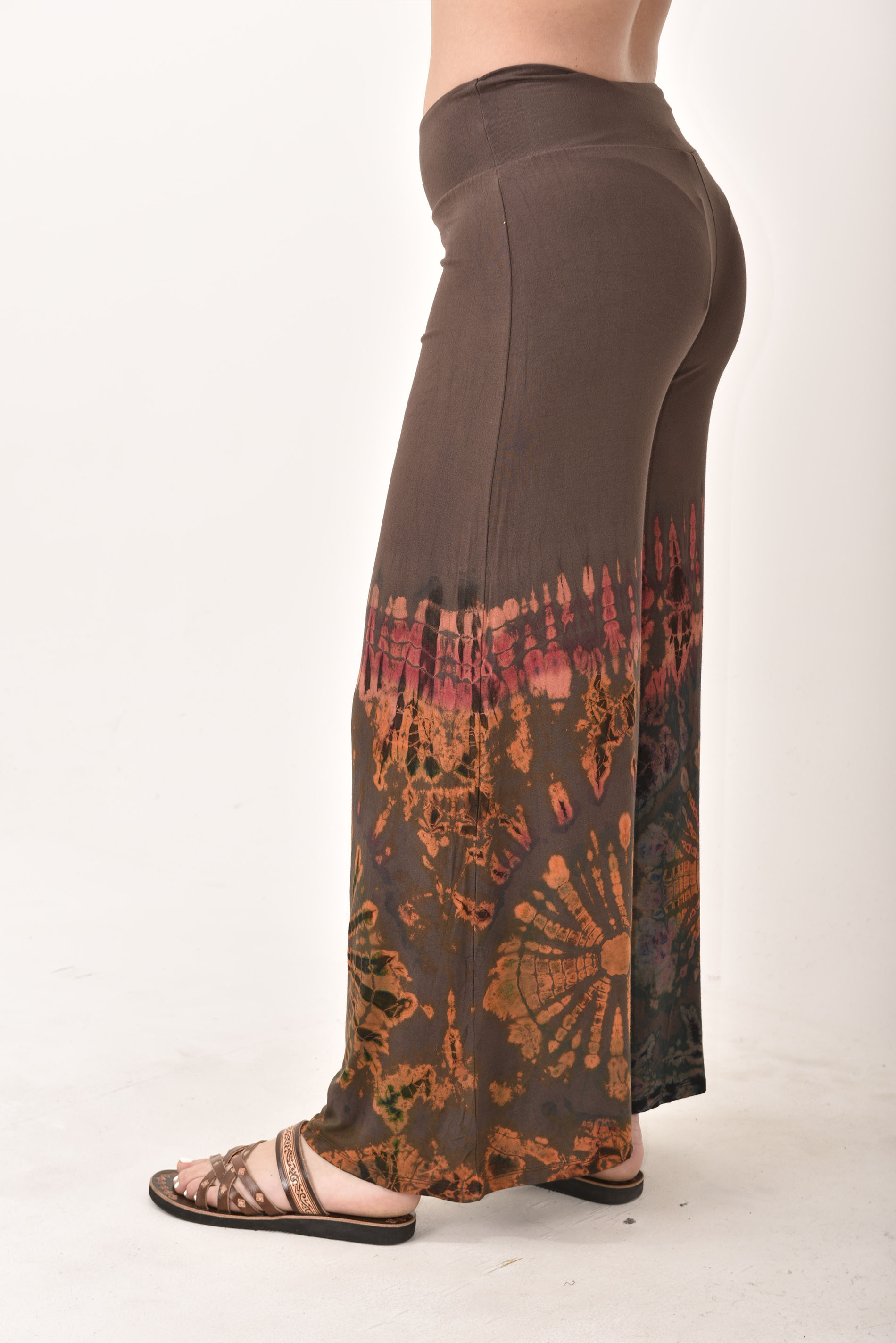 Wide Leg Pants Hand Painted Tie Dye, Brown Orange