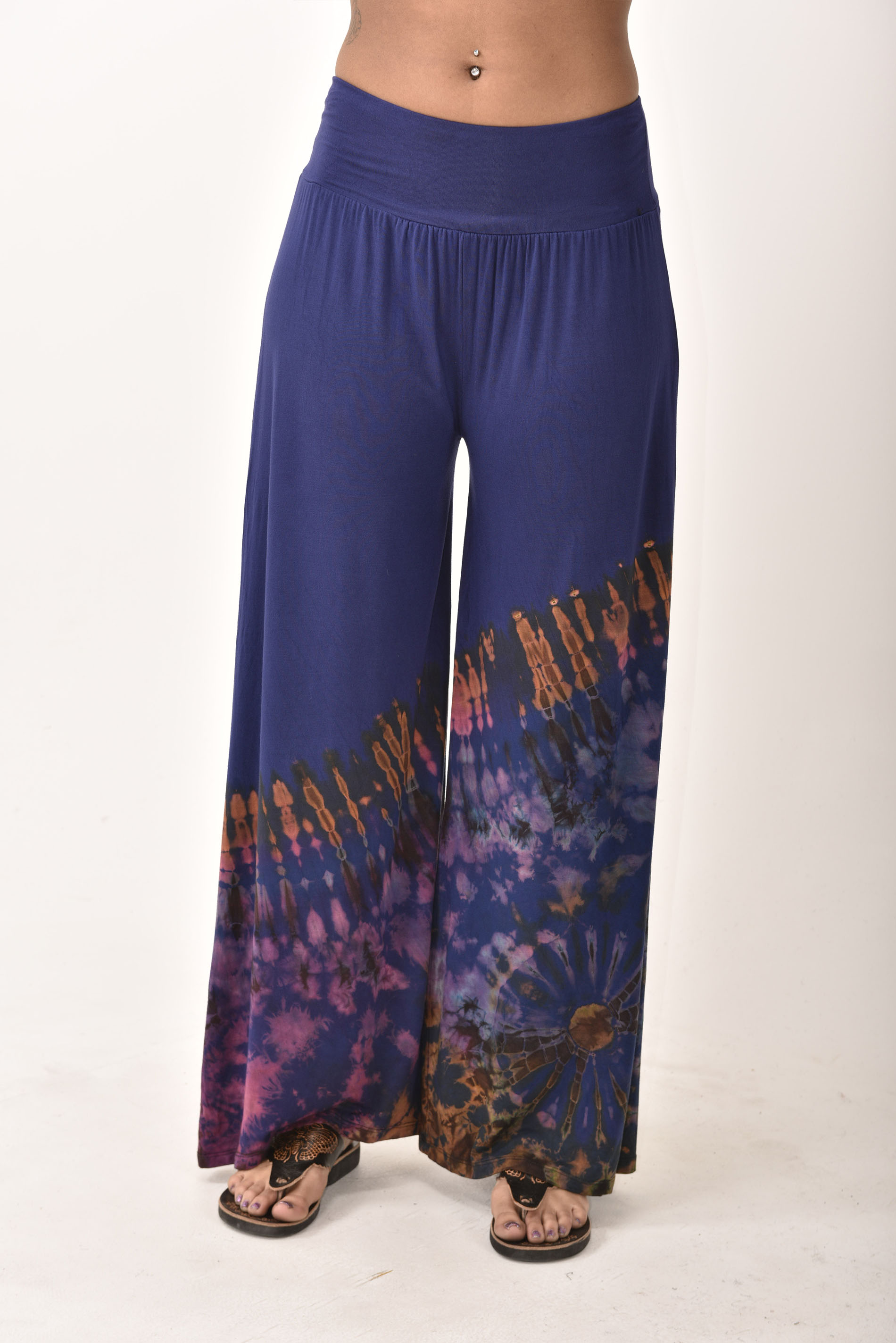Wide Leg Pants Hand Painted Tie Dye, Blue Green