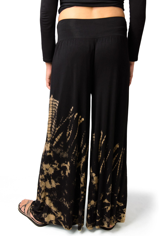 Hand Painted Tie Dye Wide Leg Pants , Black Tan