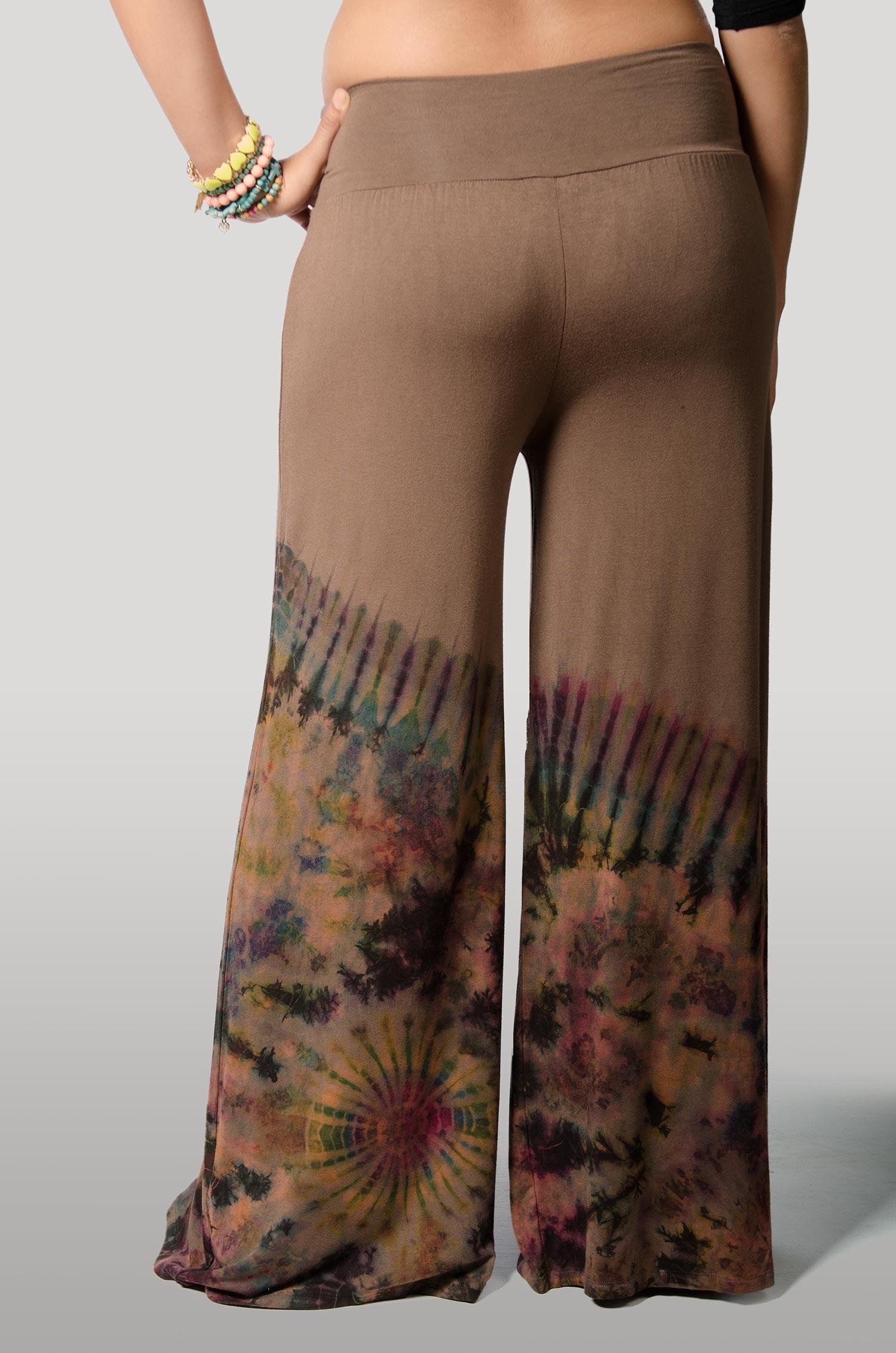 Hand Painted Tie Dye,Wide Leg Pants , Brown Orange