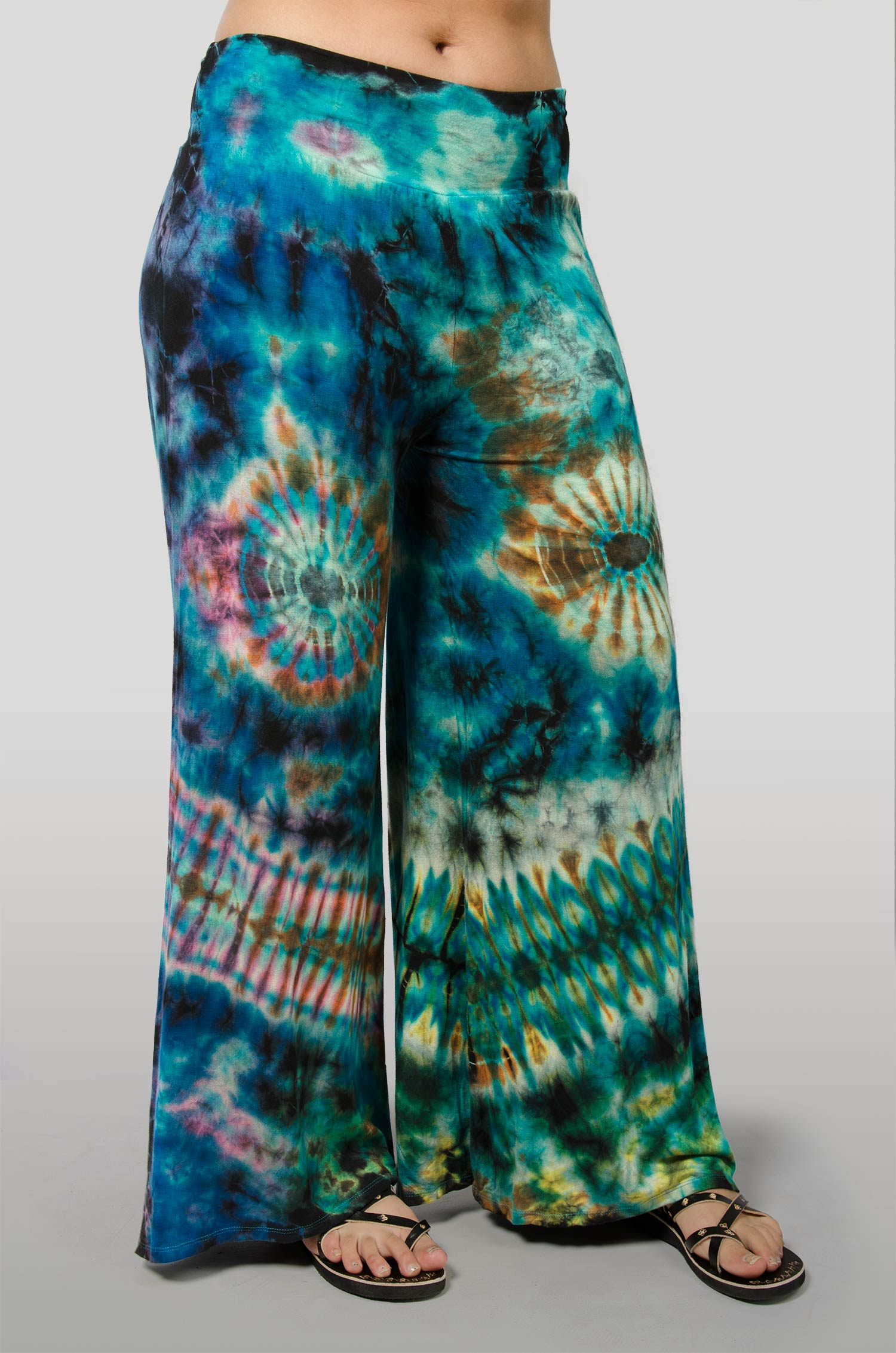 Hand Painted Tie Dye, Wide Leg Pants , Blue Green Multi
