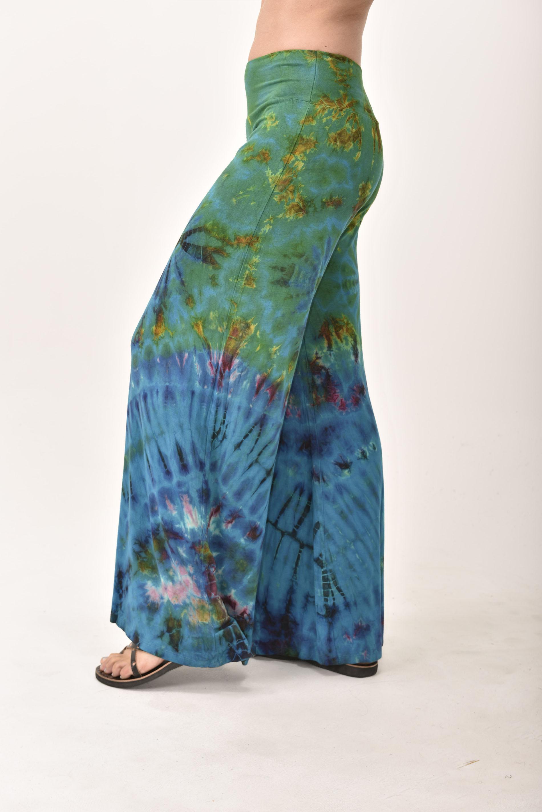 Wide Leg Pants Hand Painted Tie Dye, Black Tan