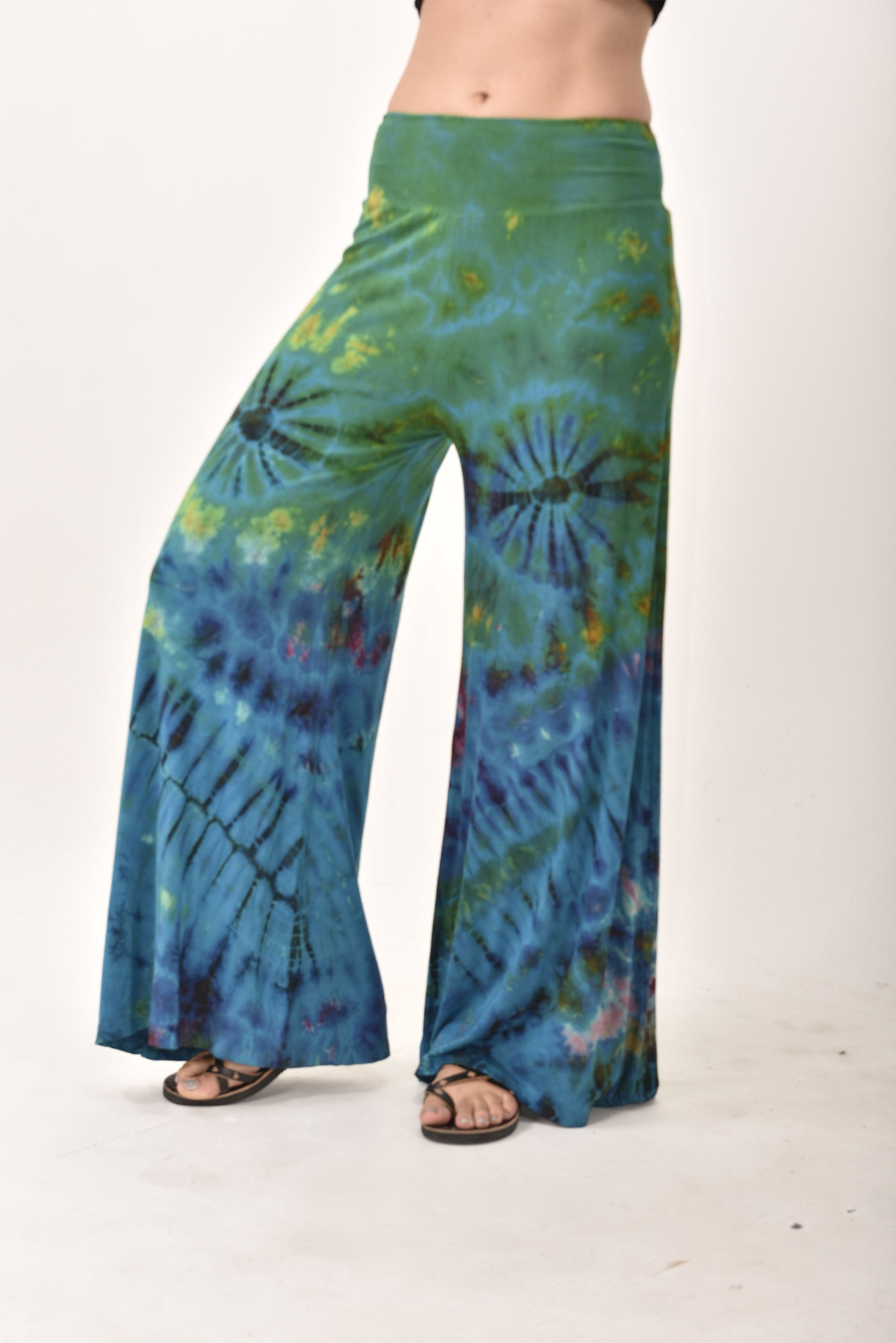 Wide Leg Pants Hand Painted Tie Dye, Black Tan