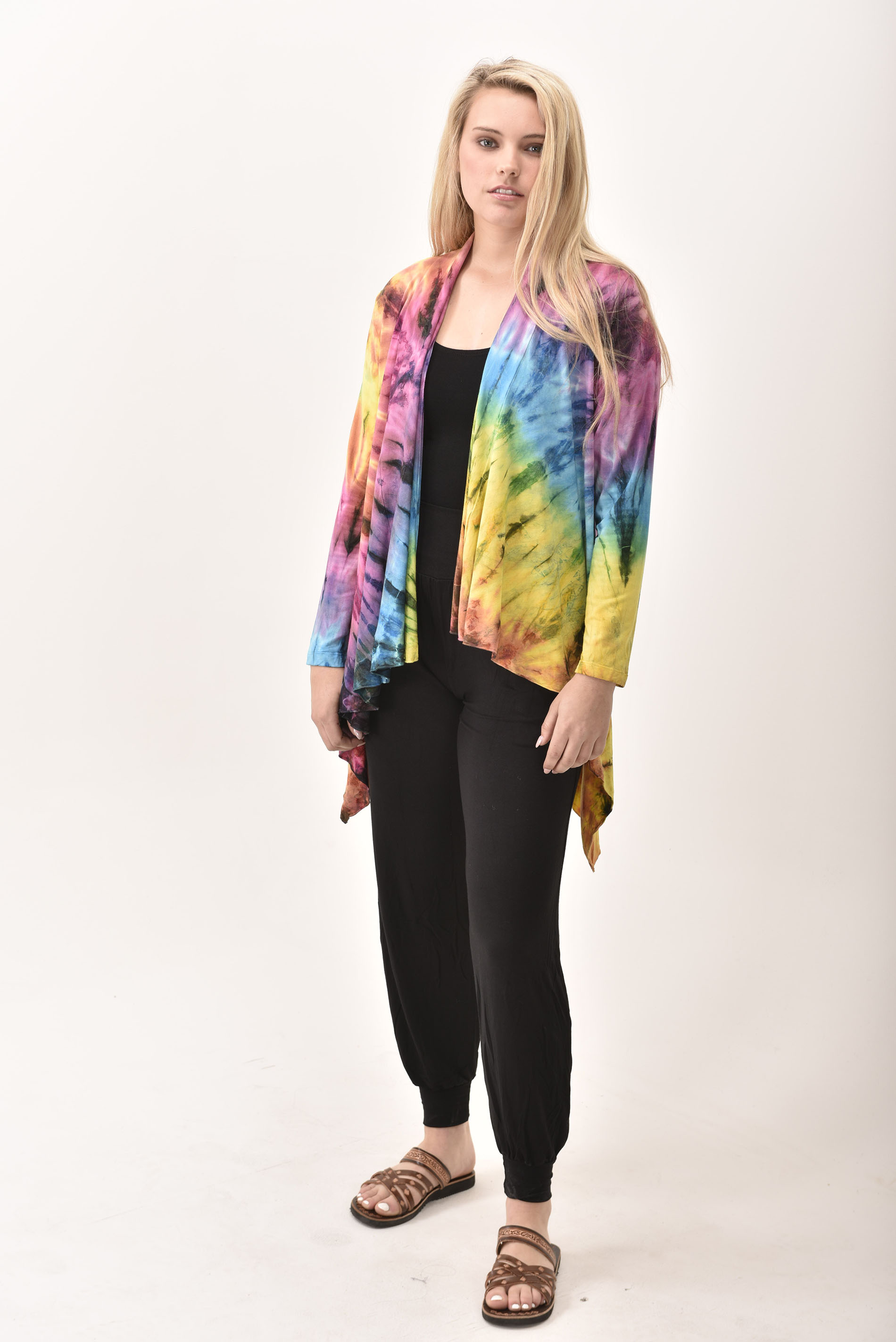 Kimono Cardigan Hand Painted Tie Dye - Rainbow Multi