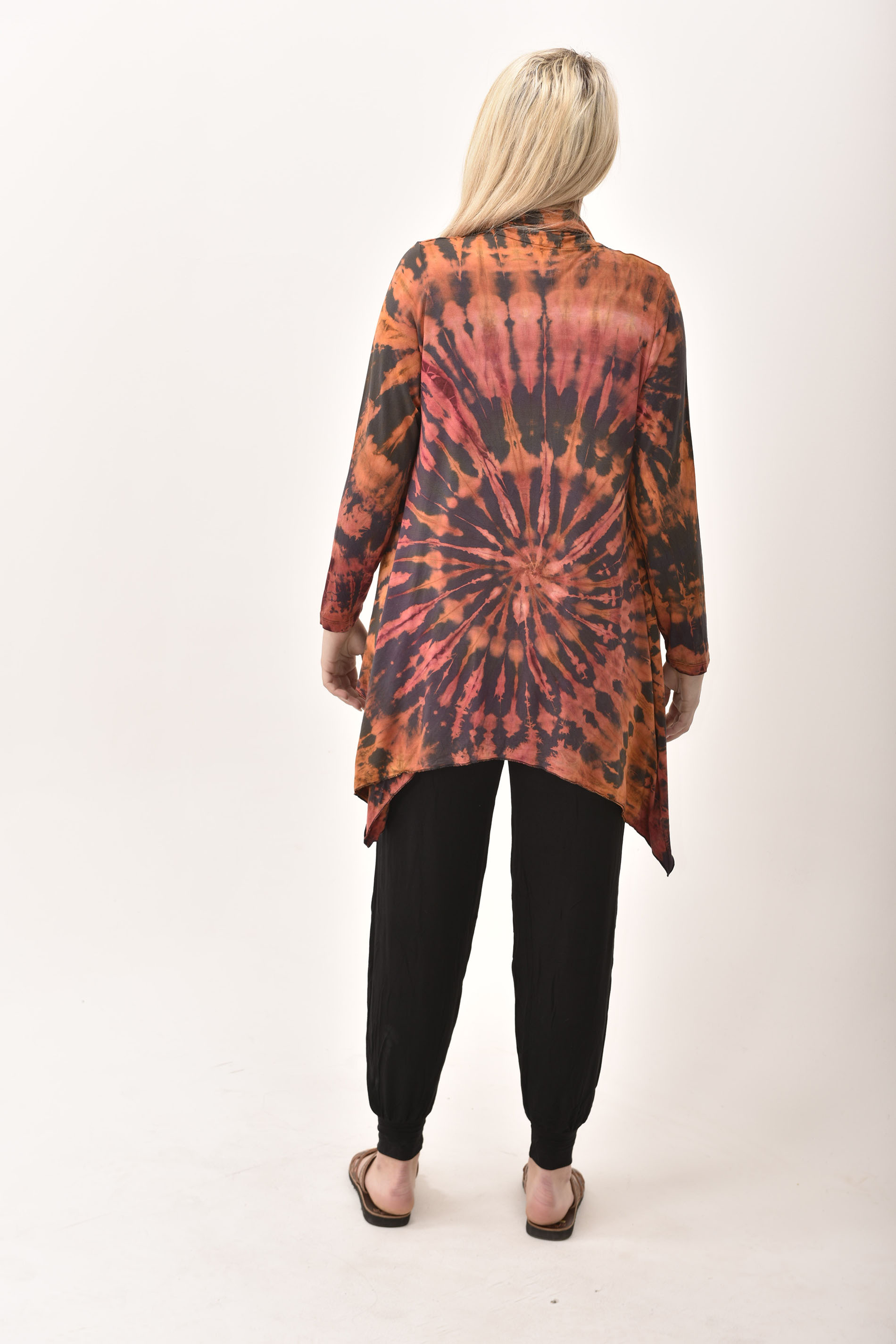 Kimono Cardigan Hand Painted Tie Dye - Purple Red Multi