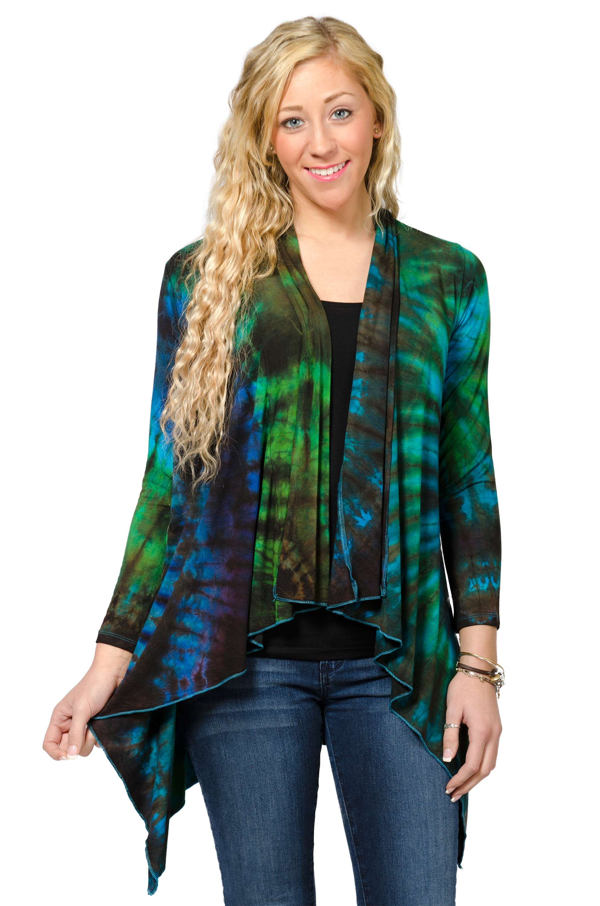 Kimono Cardigan Hand Painted Tie Dye - Blue Green Multi