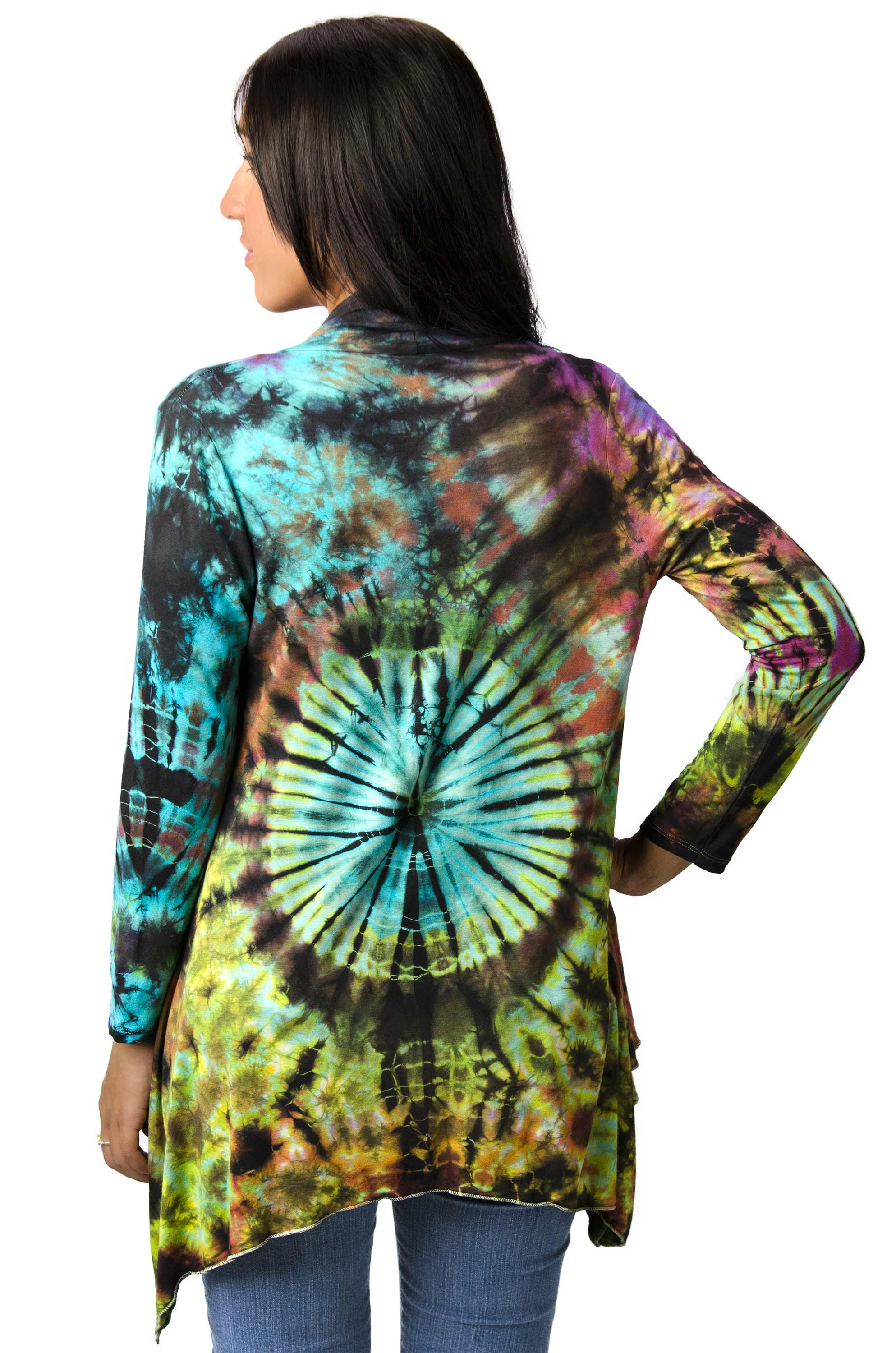 Kimono Cardigan Hand Painted Tie Dye - Everything Multi