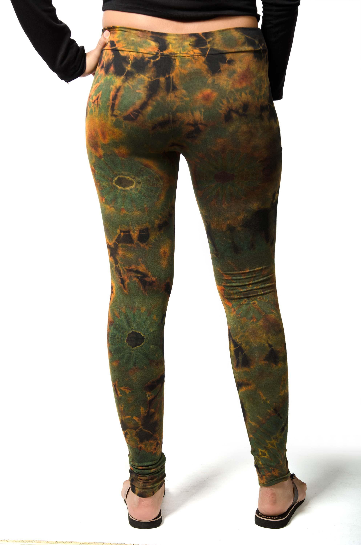 Leggings, Hand Painted Tie Dye Olive Multi - 1923G
