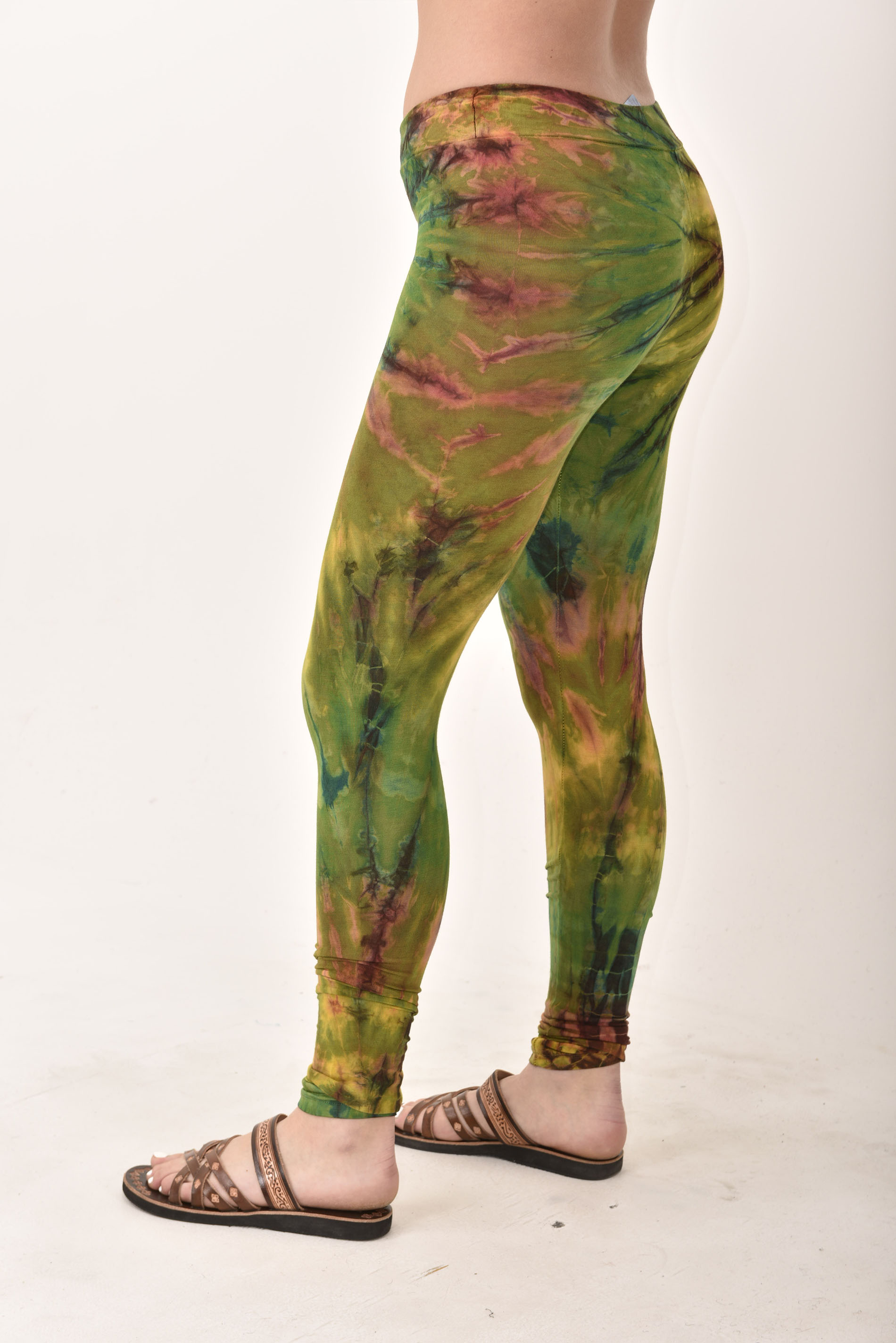 Hand Painted Tie Dye deluxe Leggings on higher quality Rayon/Spandex blend, Olive Multi