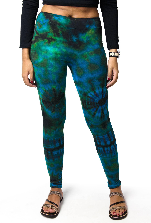 Hand Painted Tie Dye Leggings - Blue-Green Multi