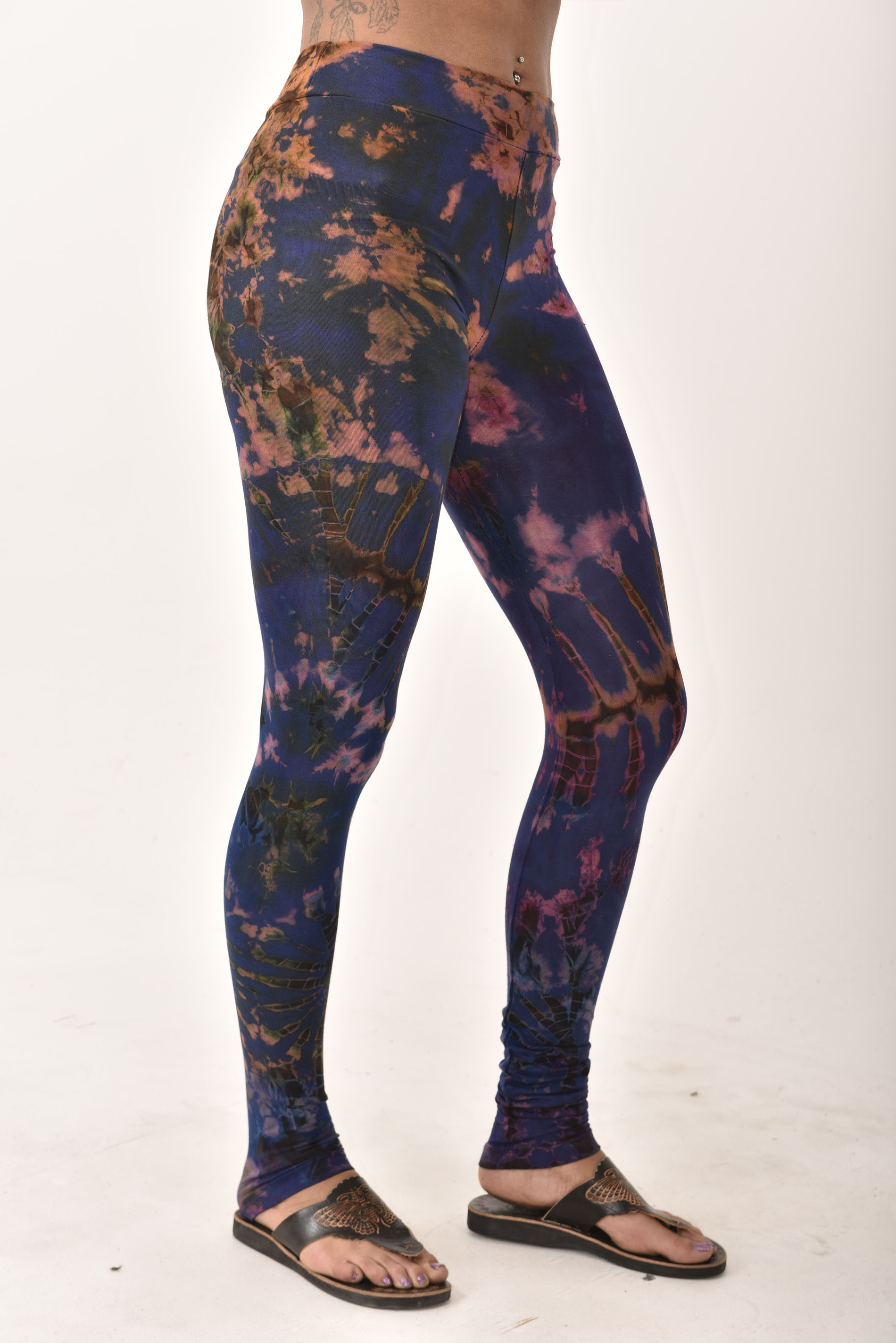 Hand Painted Tie Dye deluxe Leggings on higher quality Rayon/Spandex blend, Purple Multi