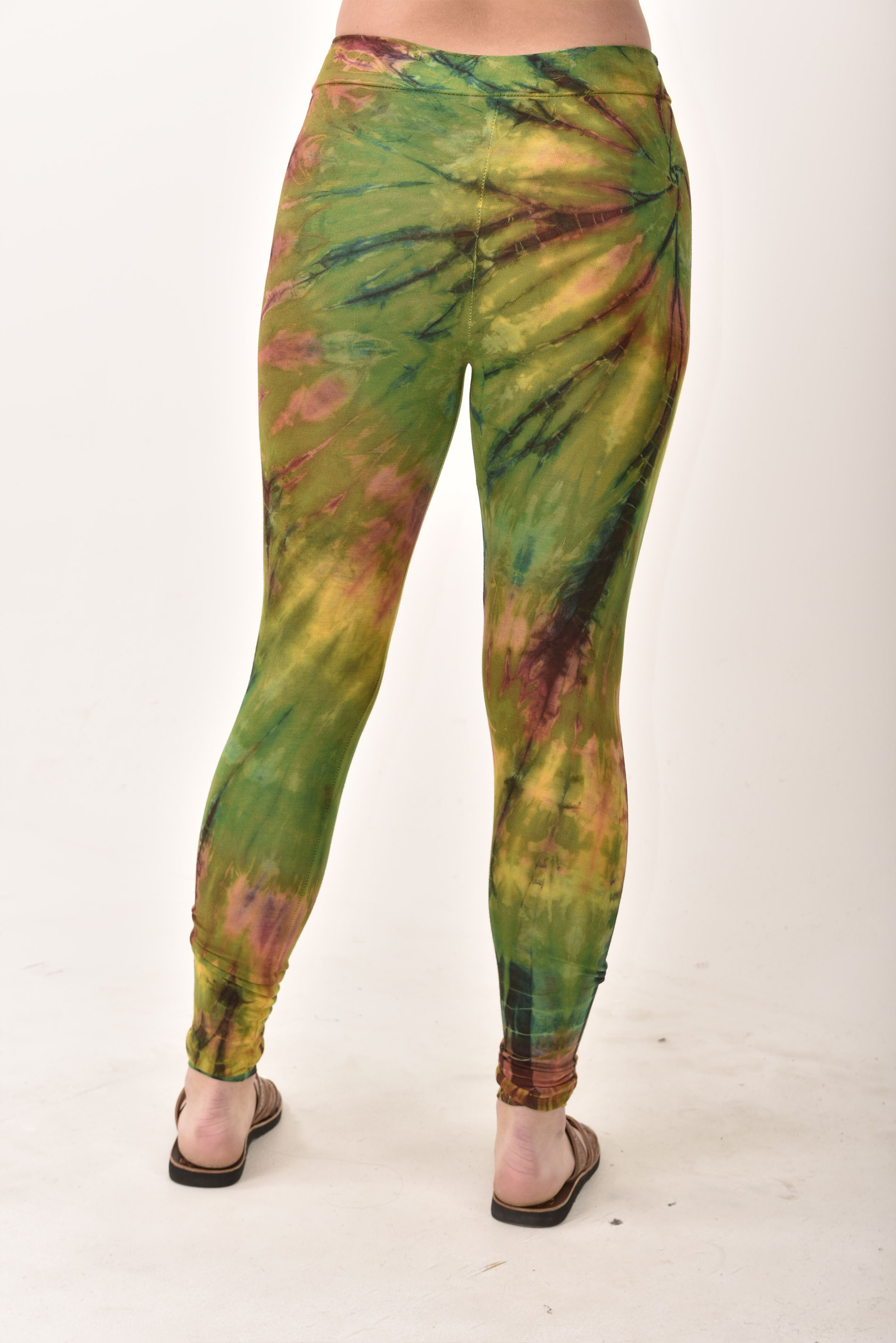 Leggings, Hand Painted Tie Dye Olive Multi - 1923G