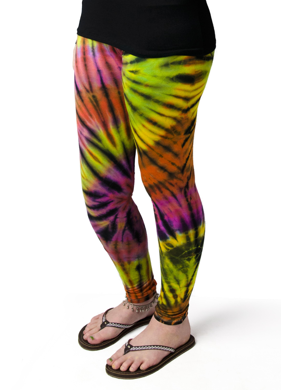 Hand Painted Tie Dye,Leggings , Rainbow Multi