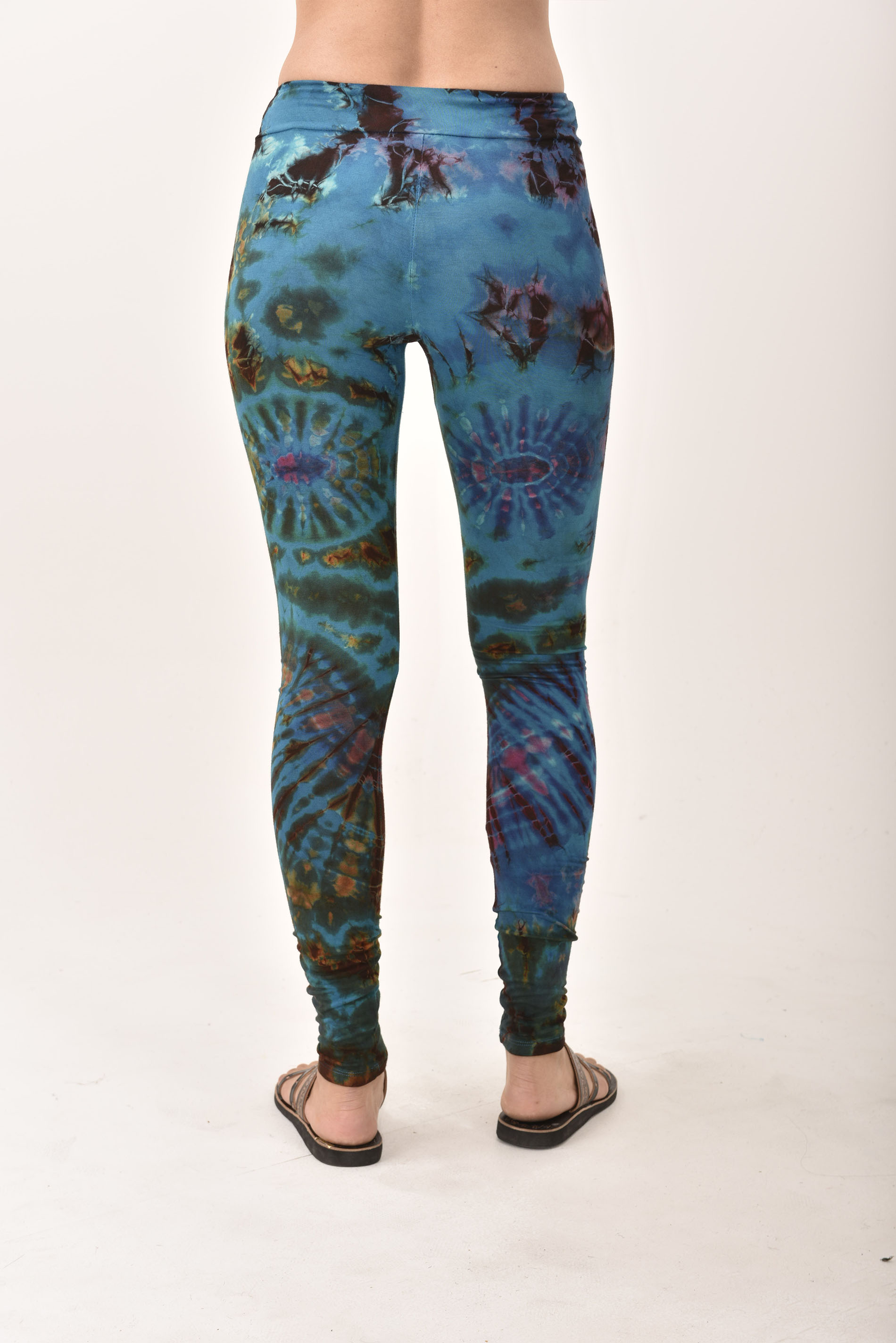 Hand Painted Tie Dye deluxe Leggings on higher quality Rayon/Spandex blend, Blue Green