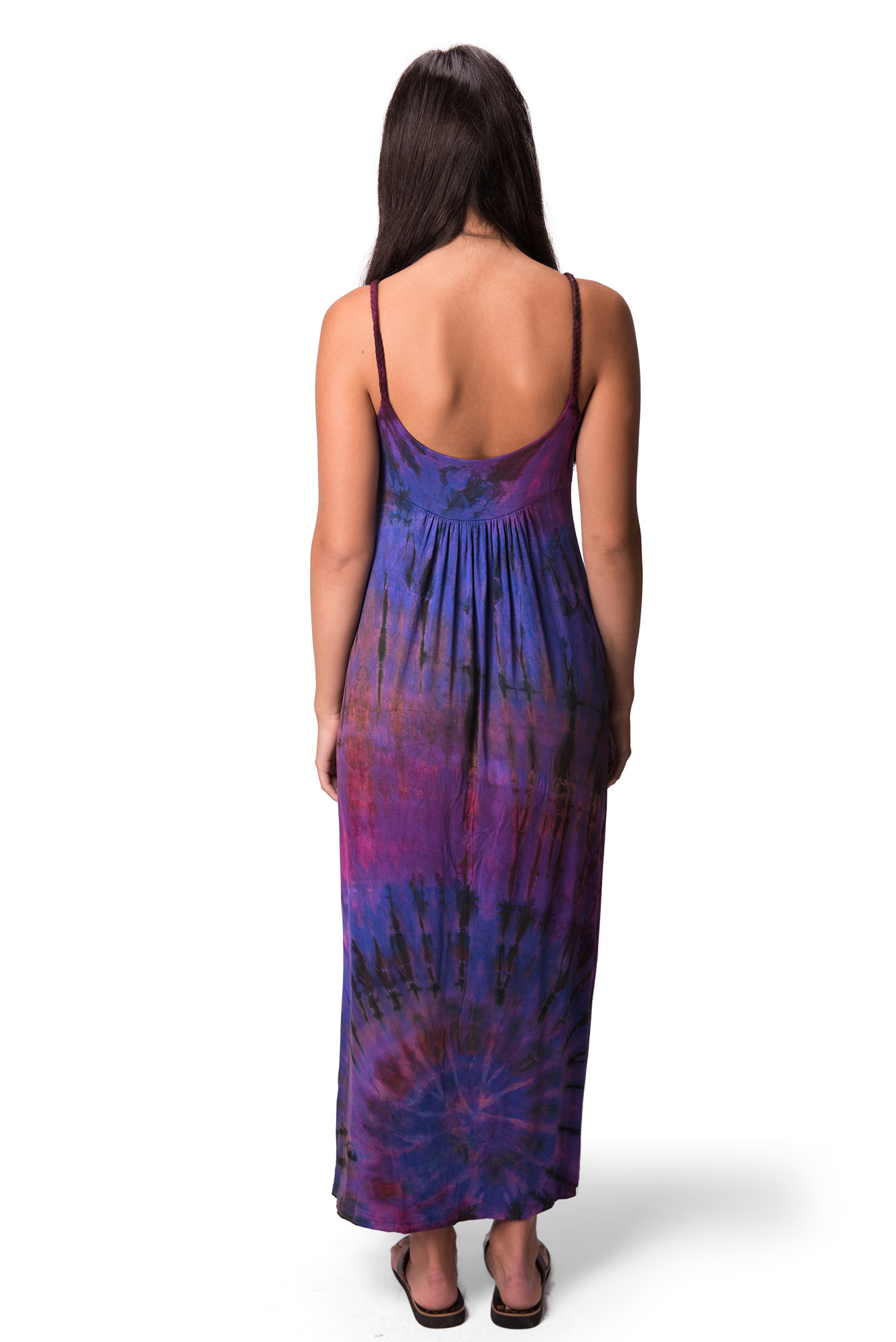 Maxi Dress, Hand Painted Tie Dye, Purple Multi