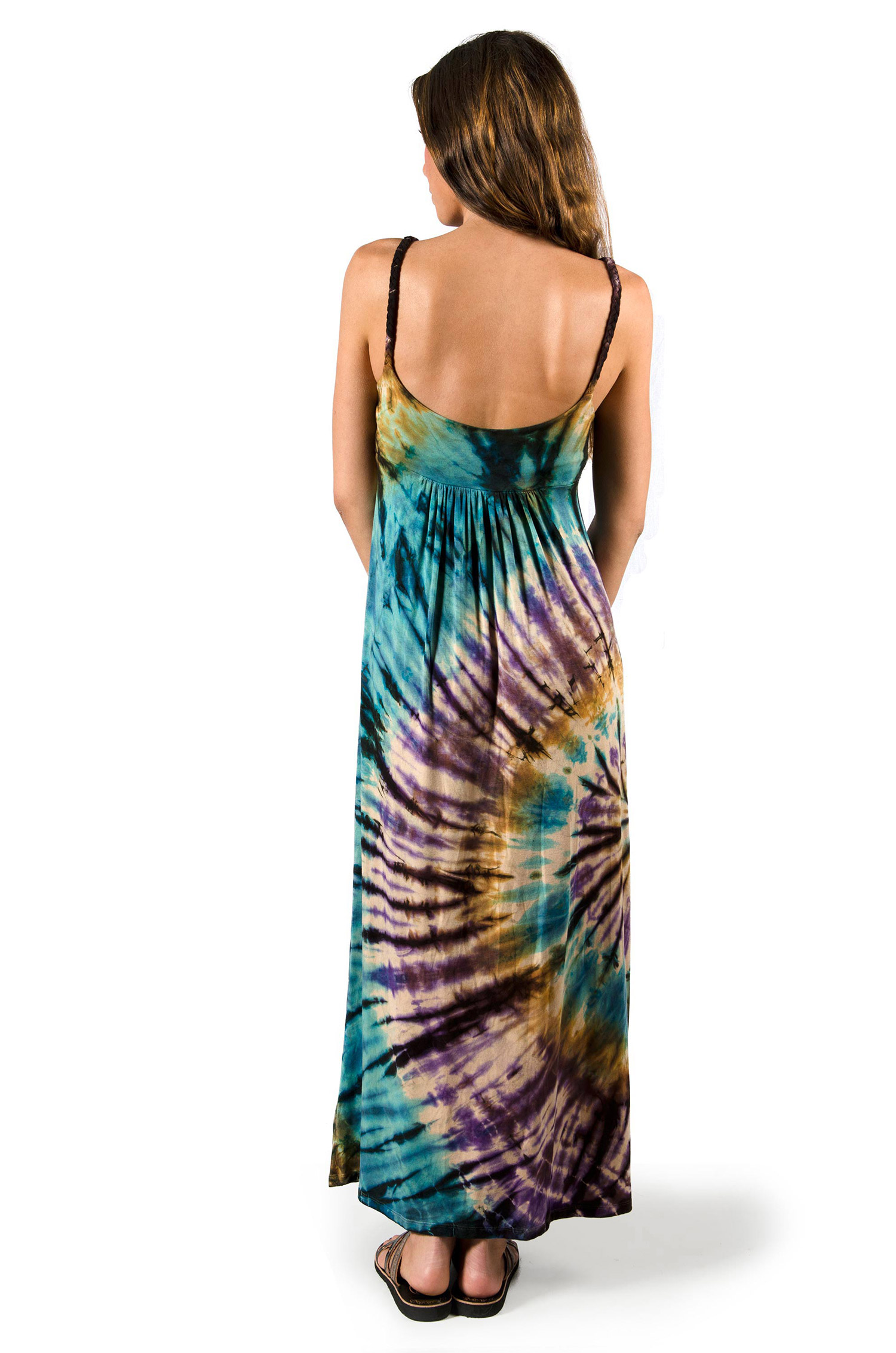 Maxi Dress, Hand Painted Tie Dye, White Multi