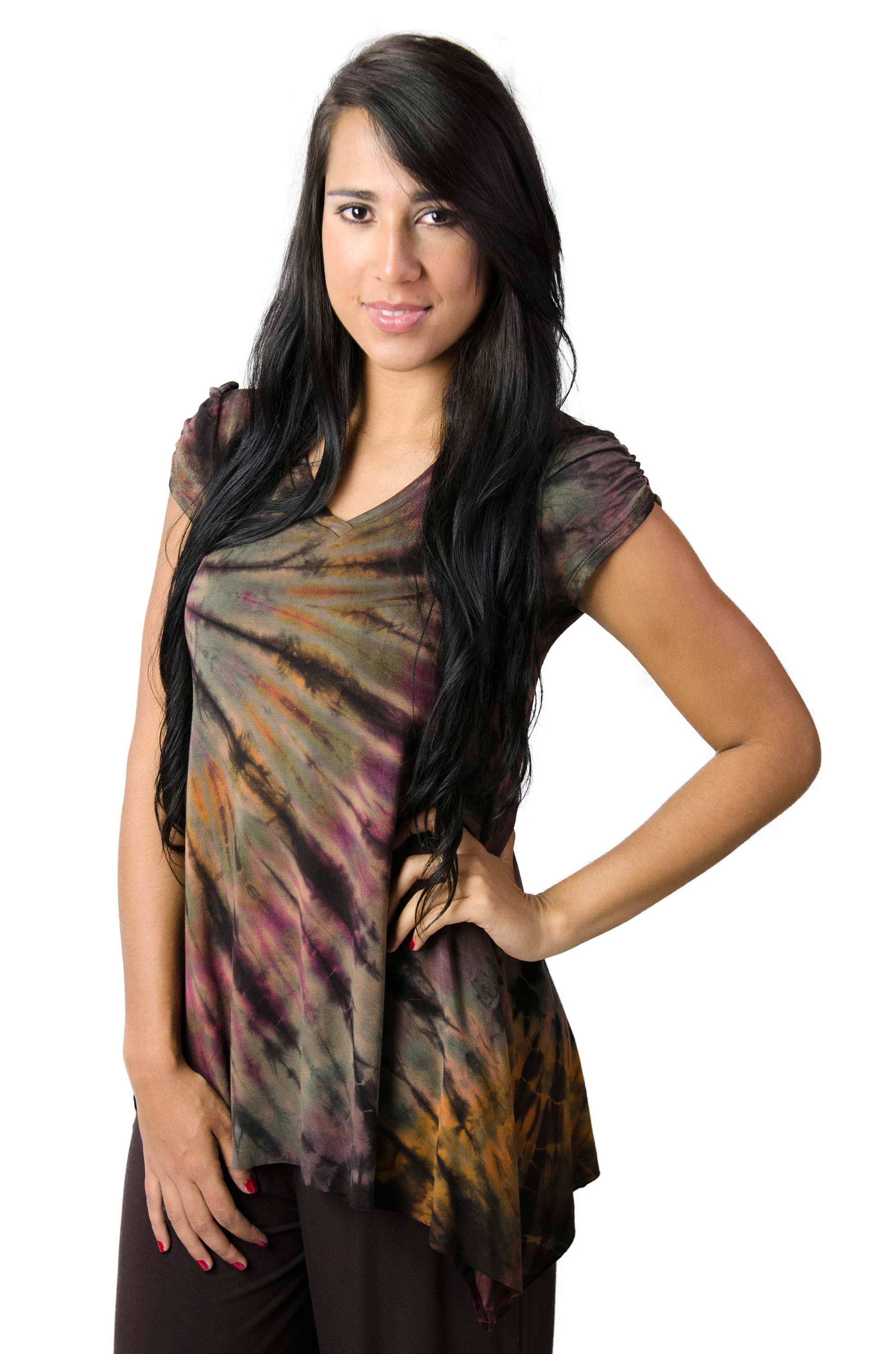 V-neck Blouse Hand Painted Tie Dye - Brown Multi