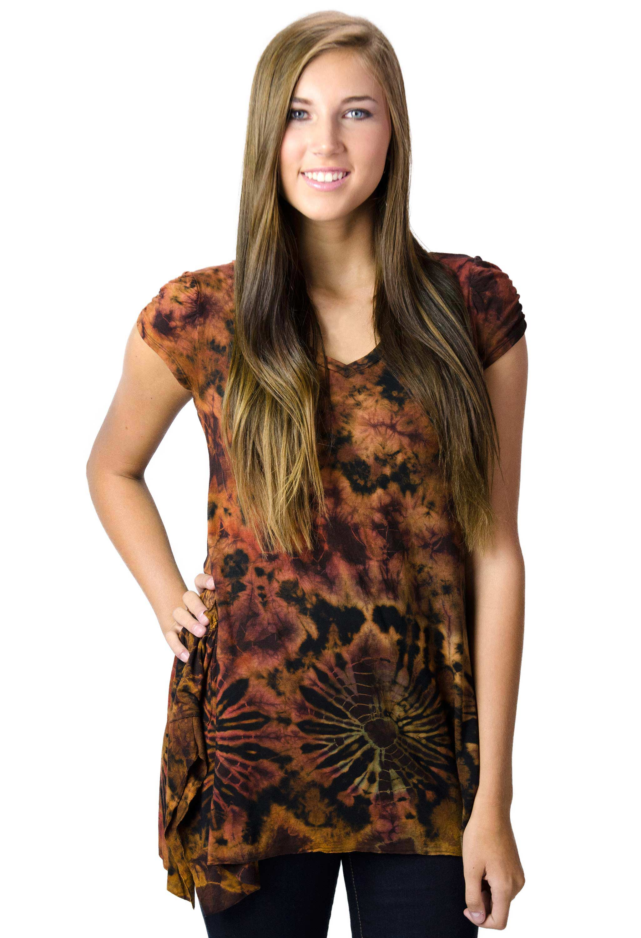 V-neck Blouse Hand Painted Tie Dye - Rust Multi