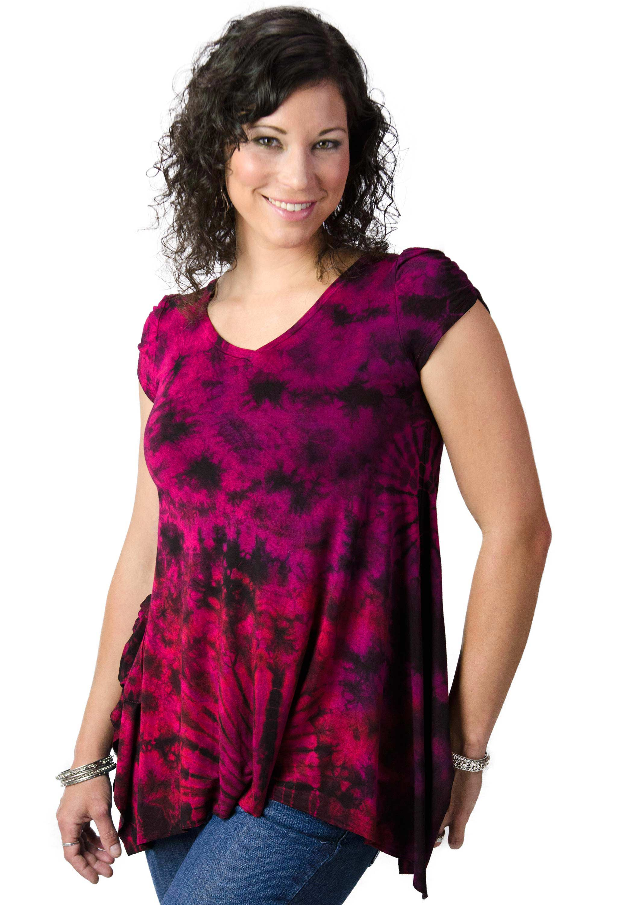 V-neck Blouse Hand Painted Tie Dye - Red Multi