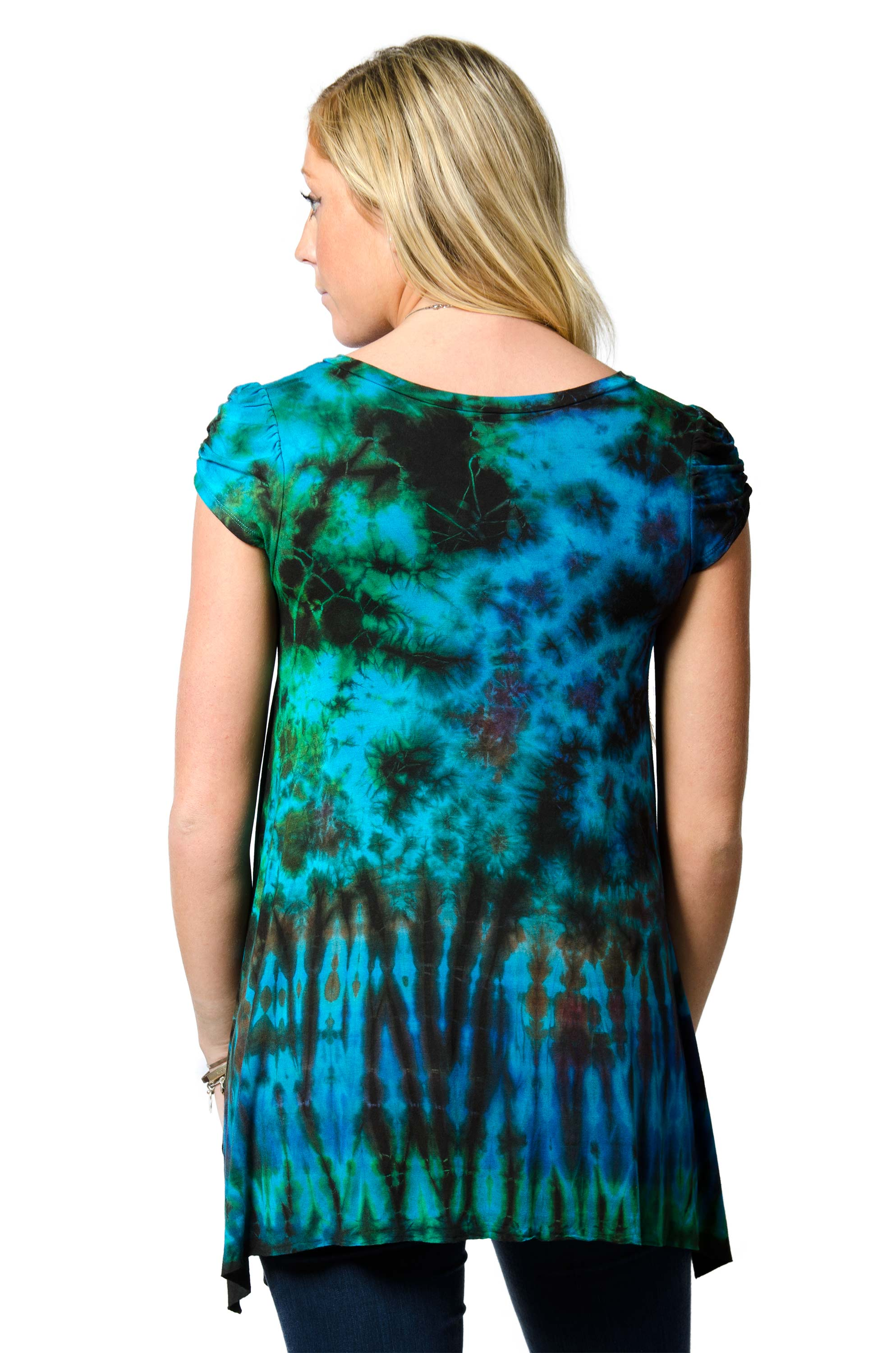 V-neck Blouse Hand Painted Tie Dye - Blue Multi