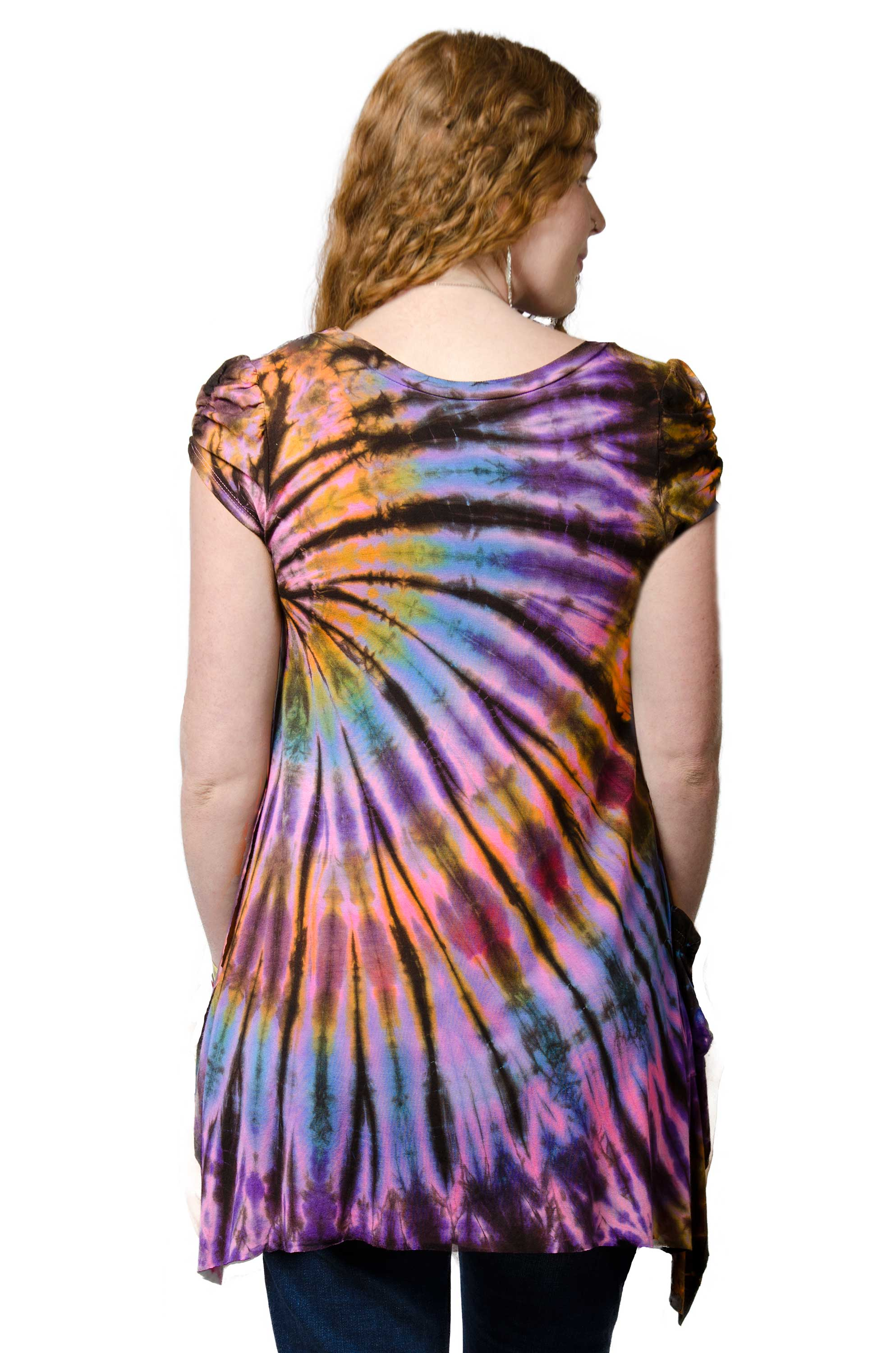 V-neck Blouse Hand Painted Tie Dye - Purple Multi