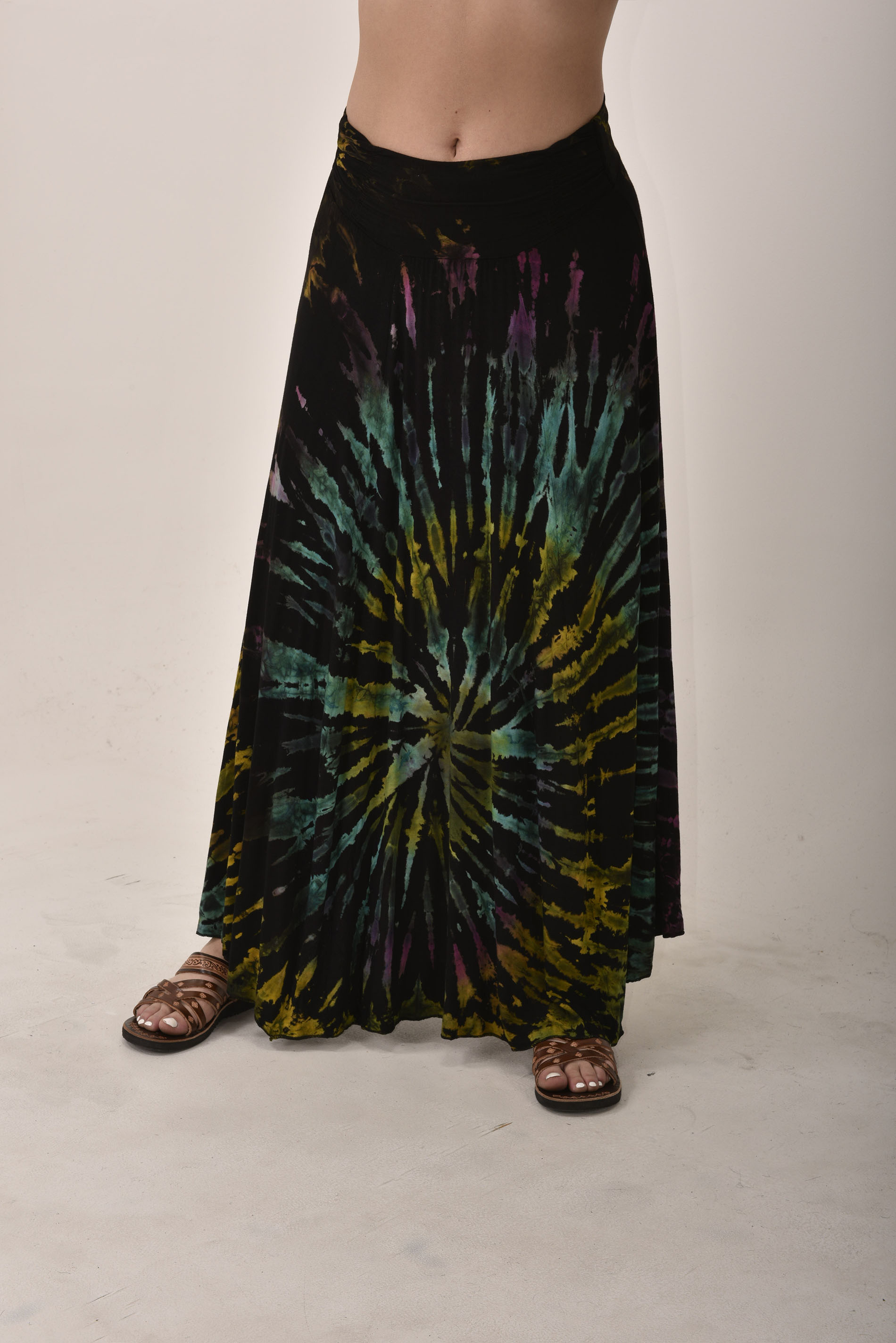 Hand Painted Tie Dye Maxi Skirt Black