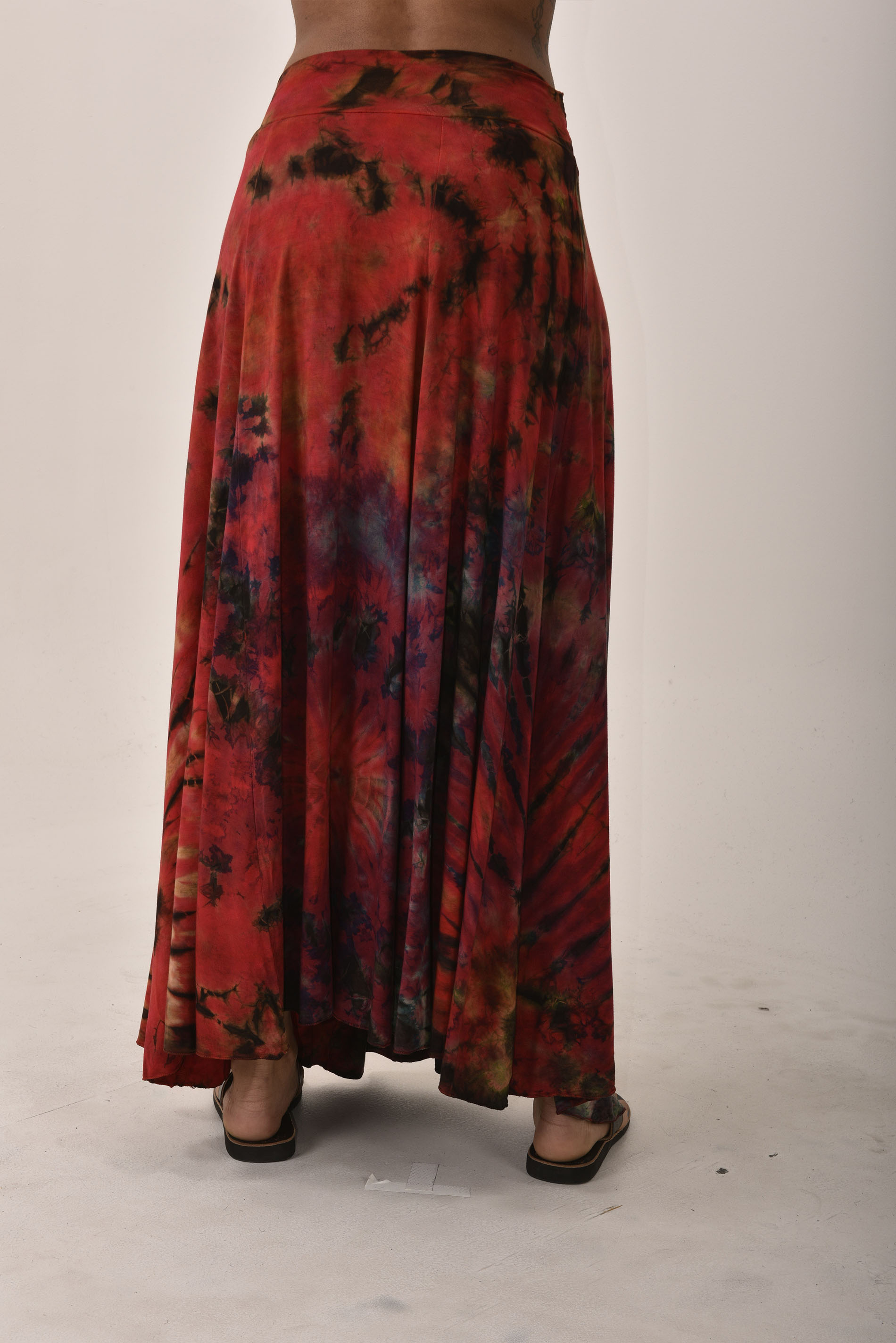 Hand Painted Tie Dye Maxi Skirt Red