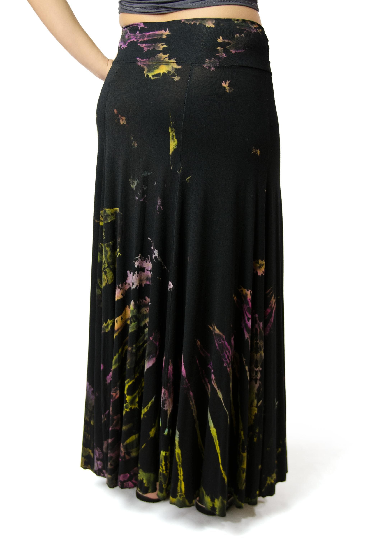 Hand Painted Tie Dye,Maxi Skirt, Black Multi