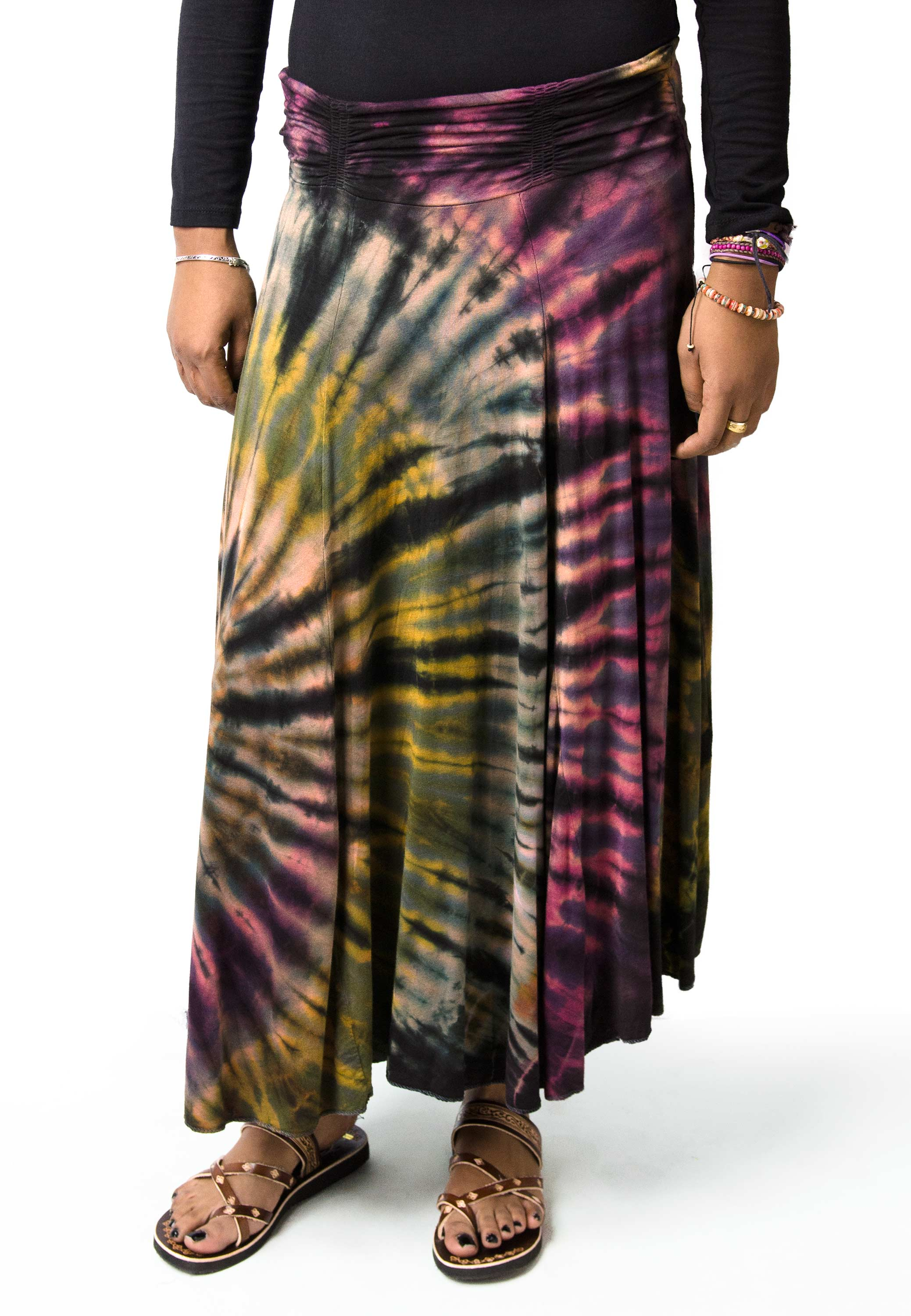 Hand Painted Tie Dye,Maxi Skirt, Muted Rainbow Multi