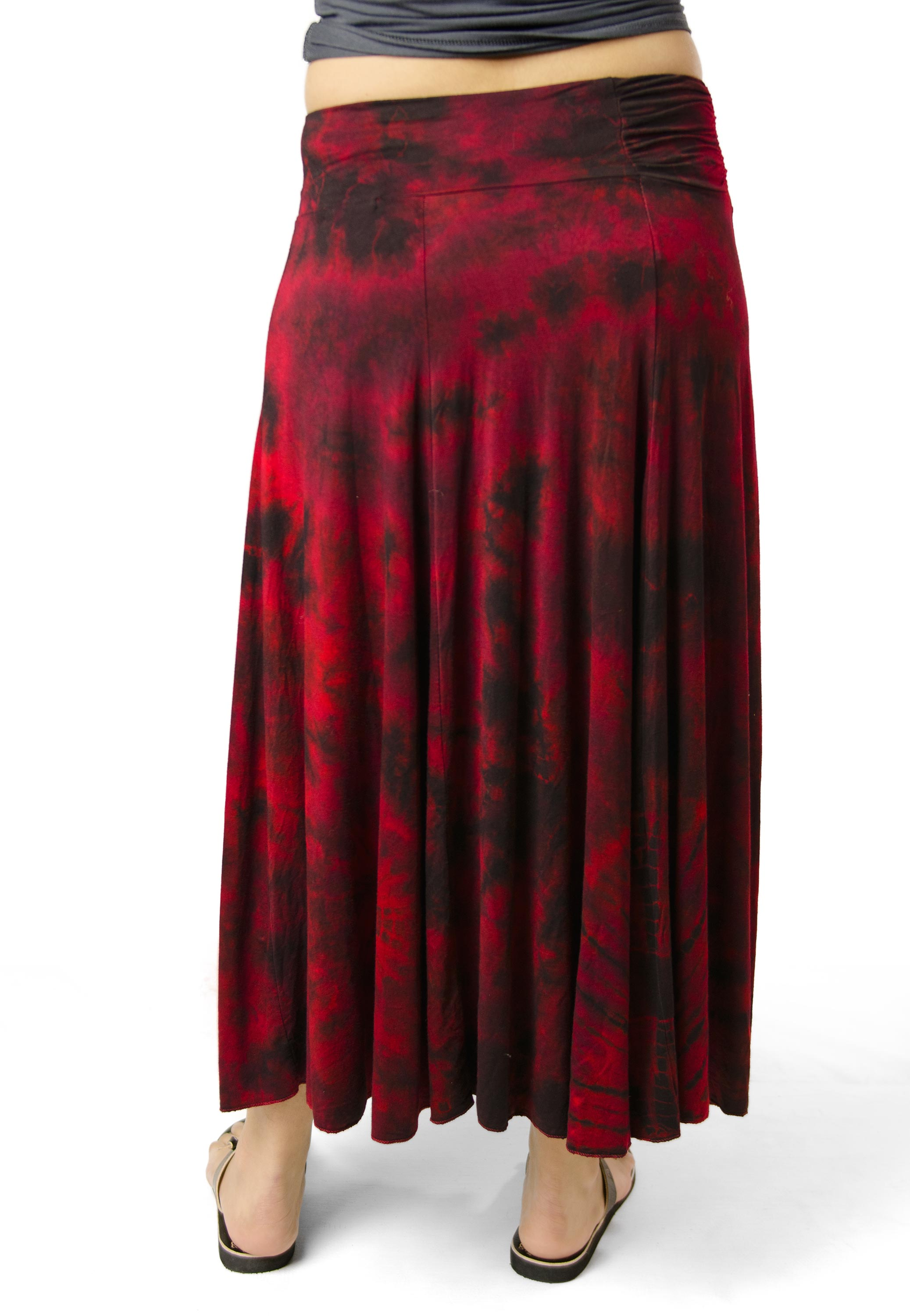 Hand Painted Tie Dye,Maxi Skirt, Red Multi