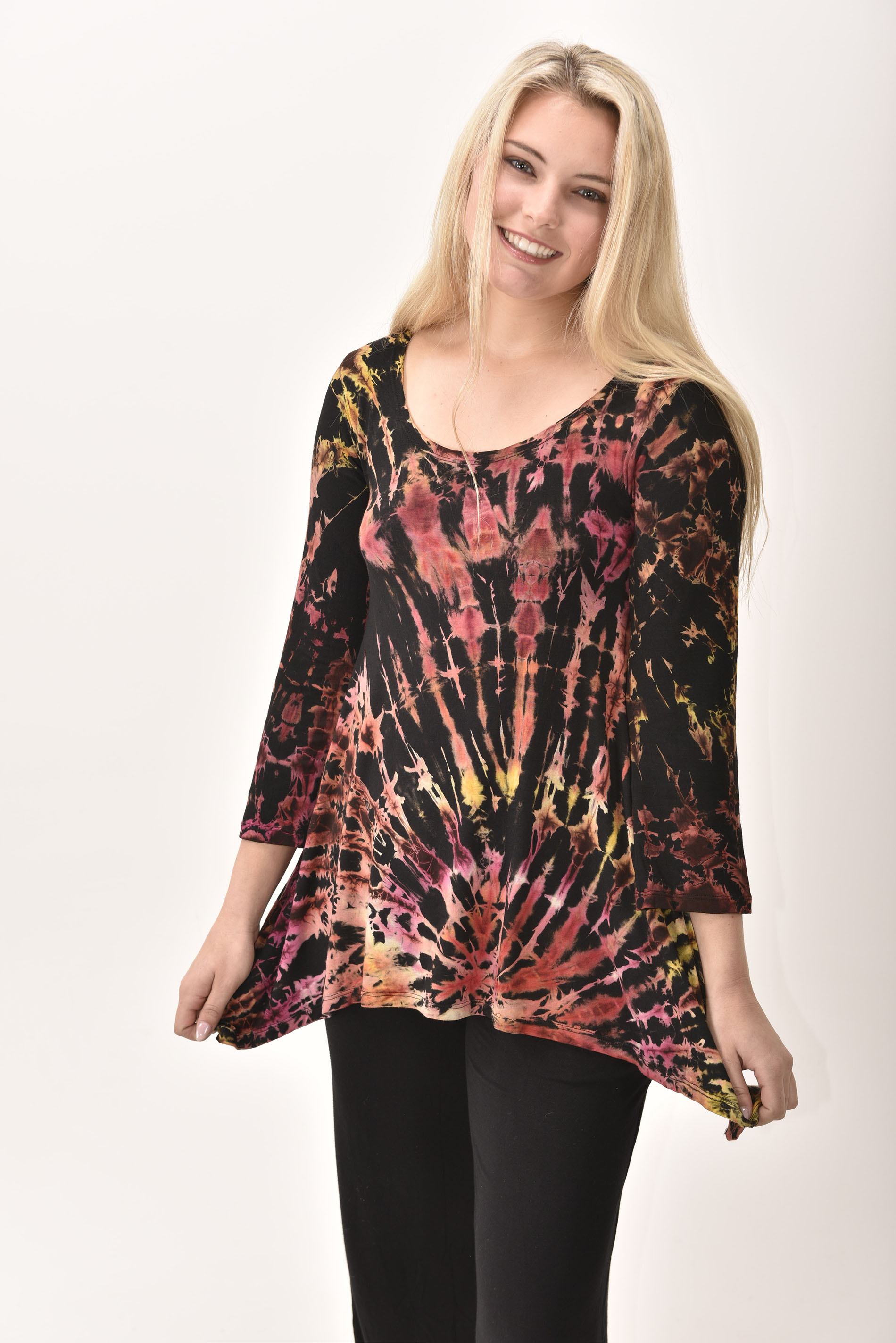 Three-Quarter Sleeve Tunic Hand Painted Tie Dye - Brown Multi