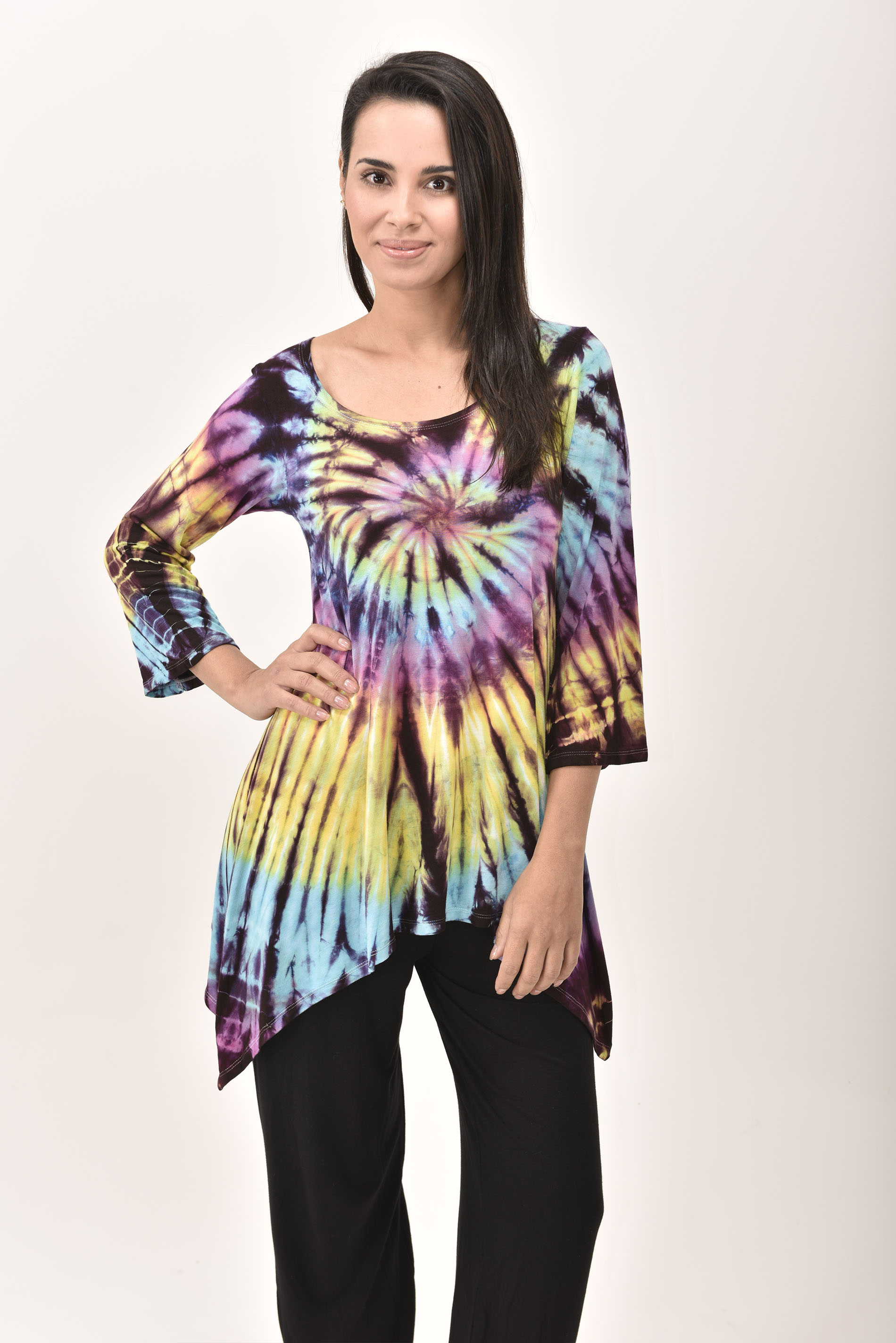 Three-Quarter Sleeve Tunic Hand Painted Tie Dye - Rainbow Multi