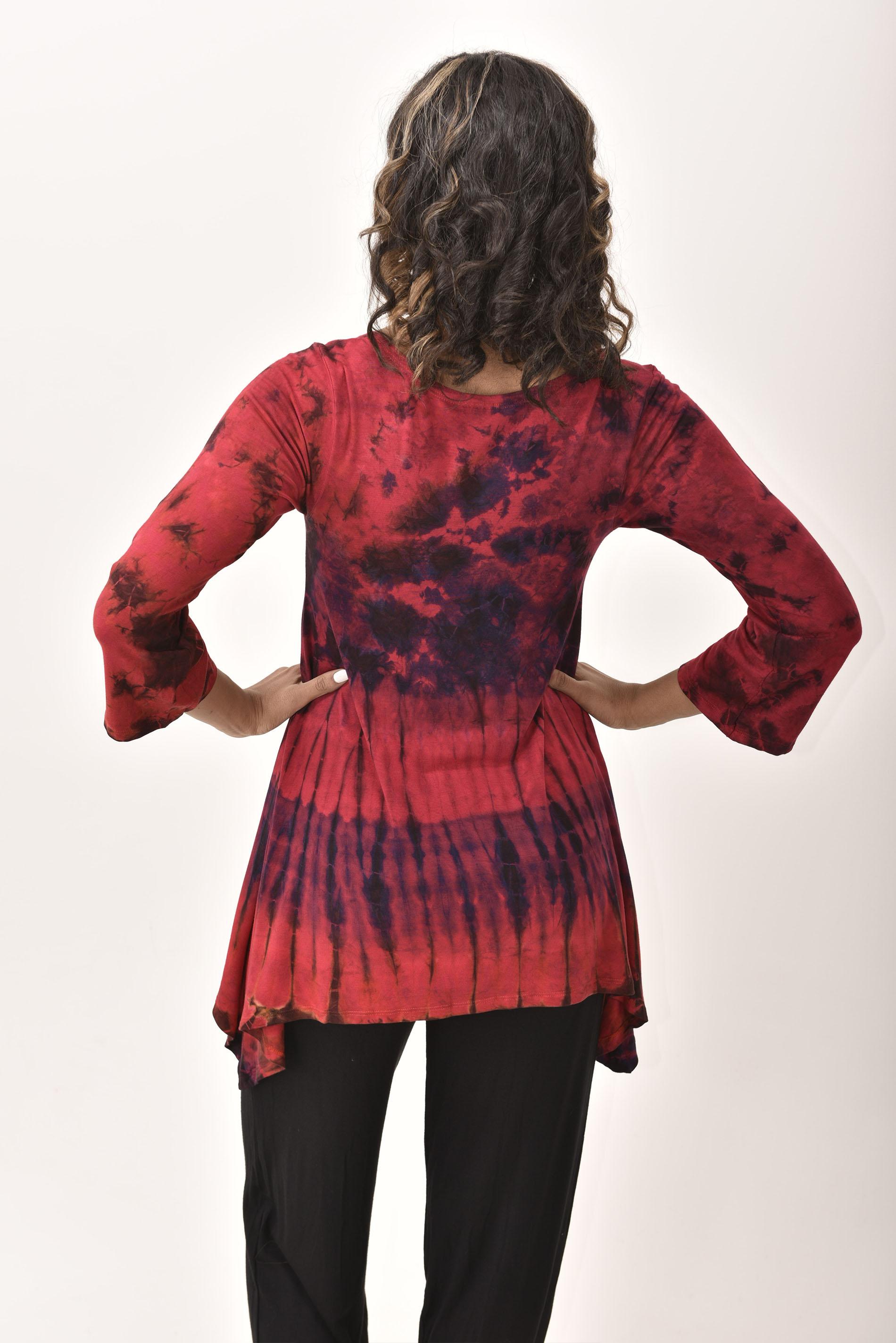 Three-Quarter Sleeve Tunic Hand Painted Tie Dye - Red Multi