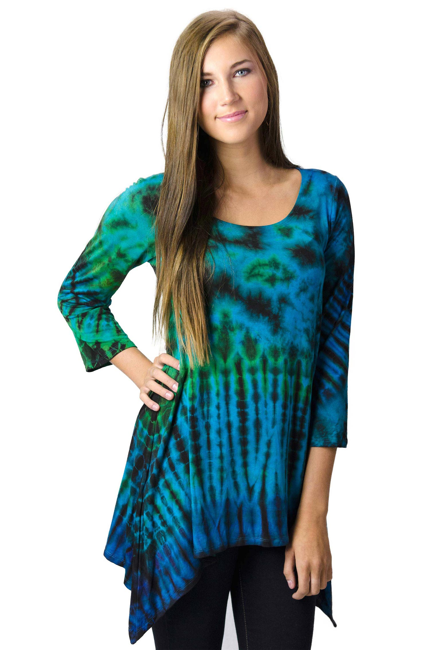 Hand Painted Tie Dye Three-Quarter Sleeve Tunic Blue-Multi