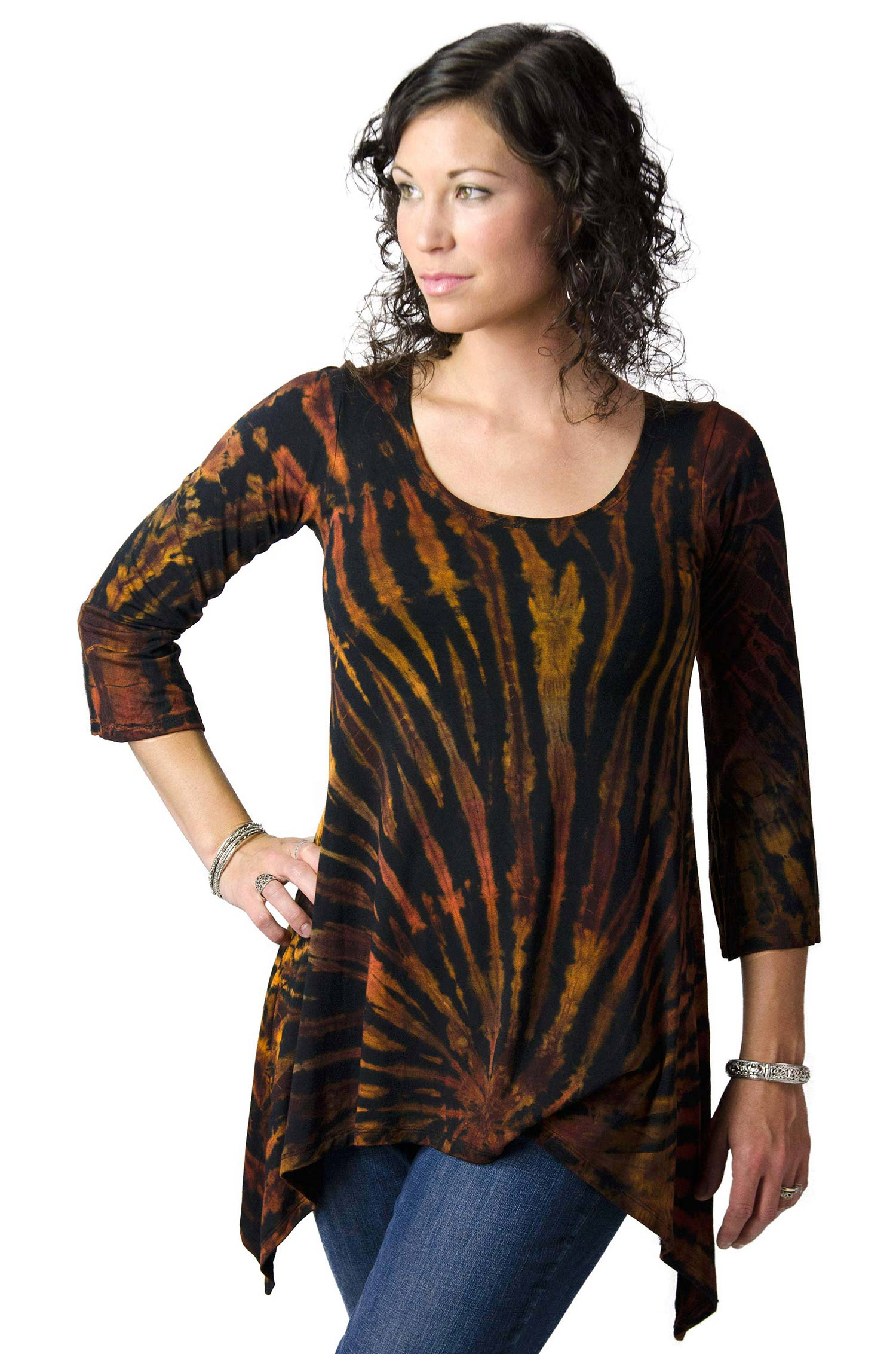 Hand Painted Tie Dye Three-Quarter Sleeve Tunic Brown-Multi