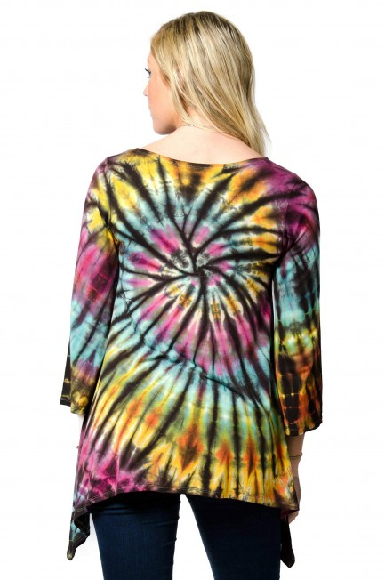Hand Painted Tie Dye Three-Quarter Sleeve Tunic Rainbow-Multi