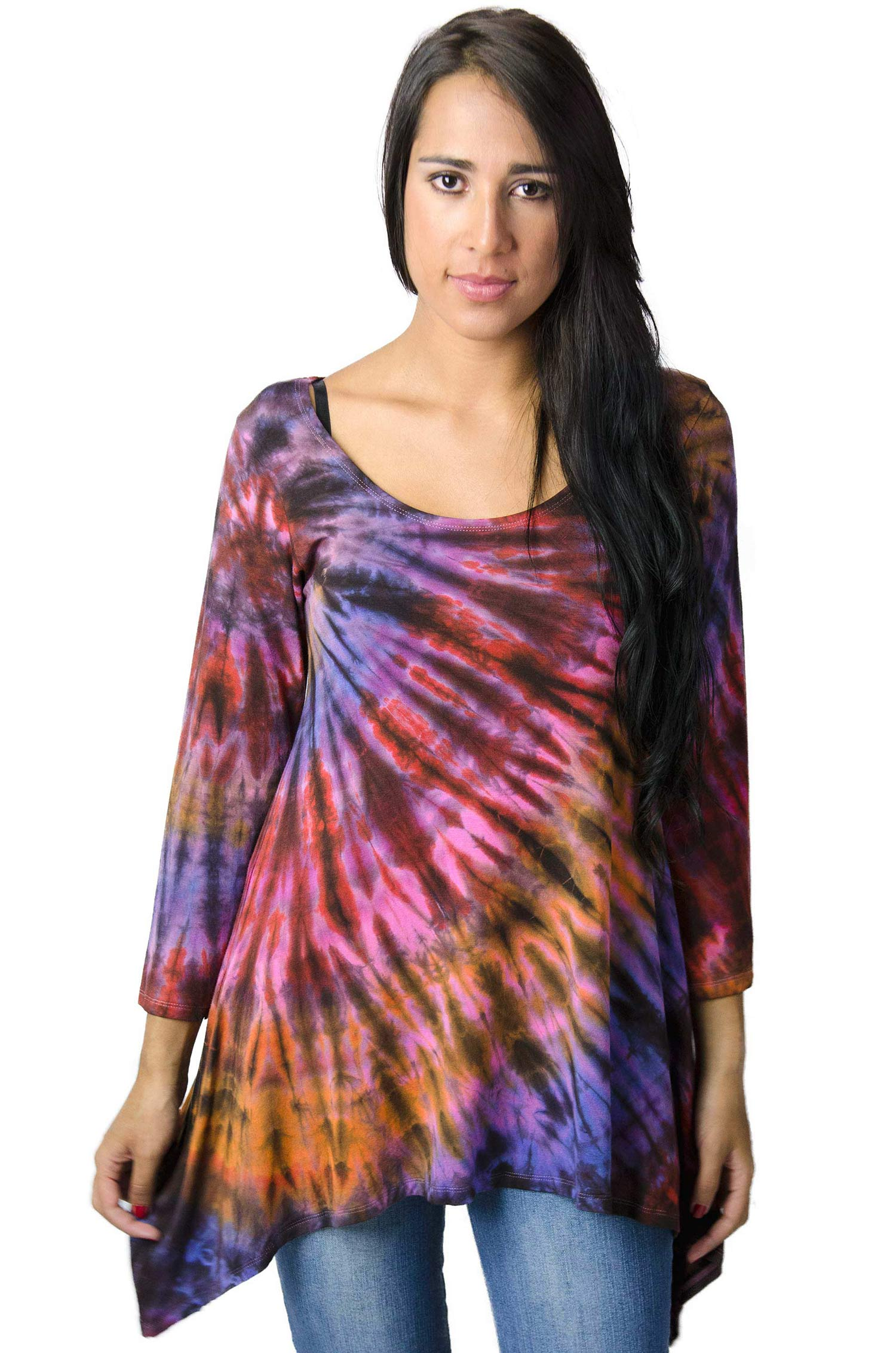 Hand Painted Tie Dye Three-Quarter Sleeve Tunic Purple-Multi