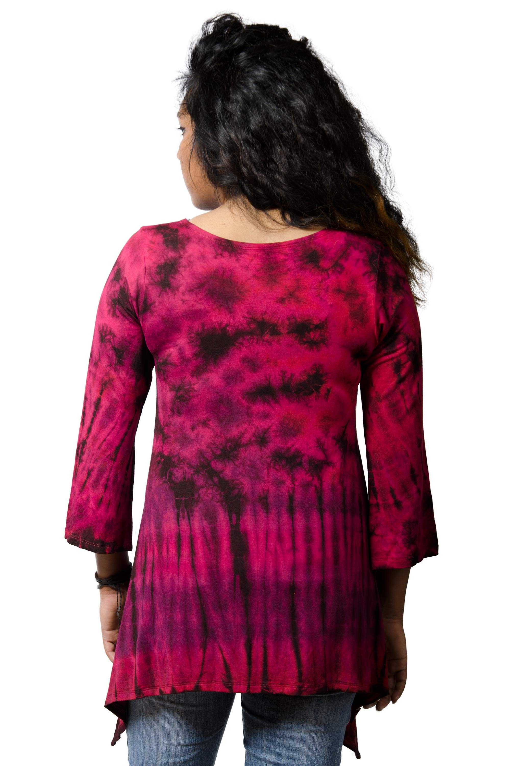 Three-Quarter Sleeve Tunic Hand Painted Tie Dye - Red Multi