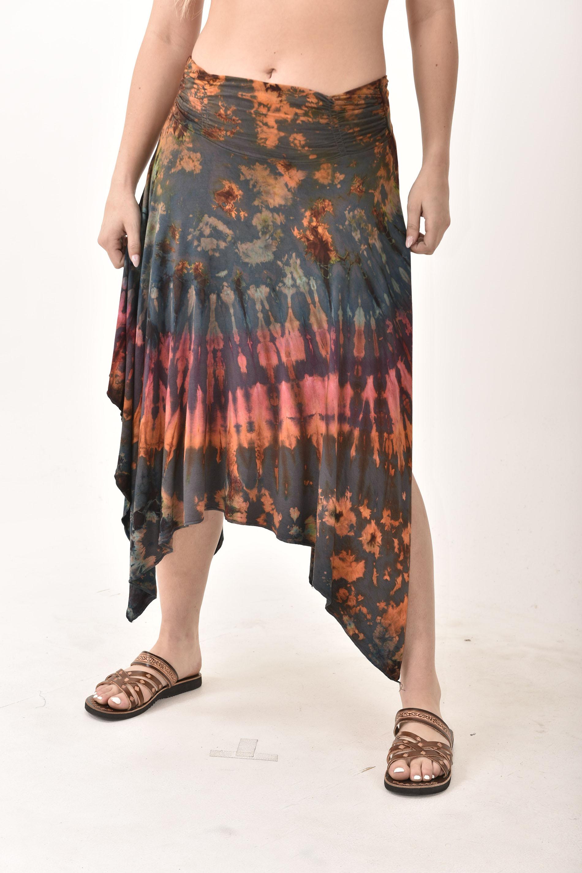 Hand Painted Tie Dye Fairy Skirt Rust