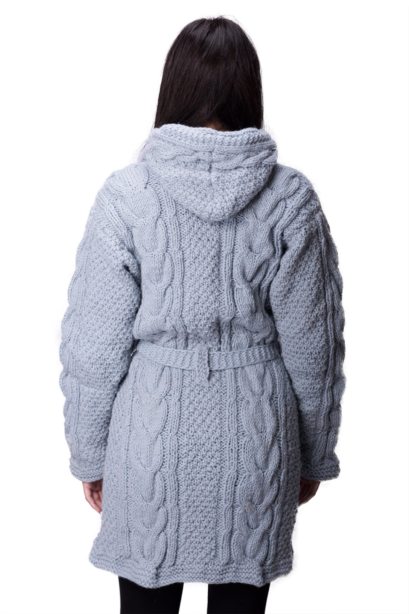 Himalayan Mountain Jacket Full Length Cable Knit, Blue