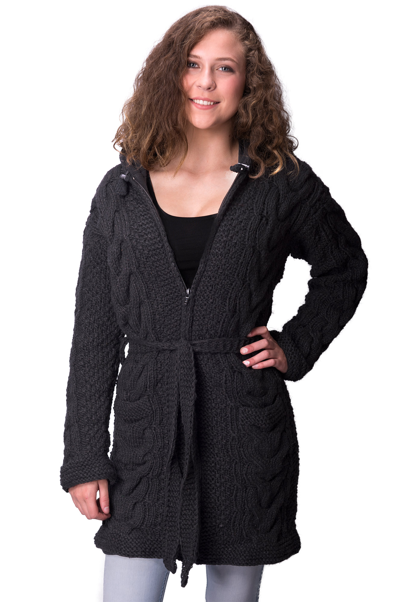 Full Length, Black Cable Knit