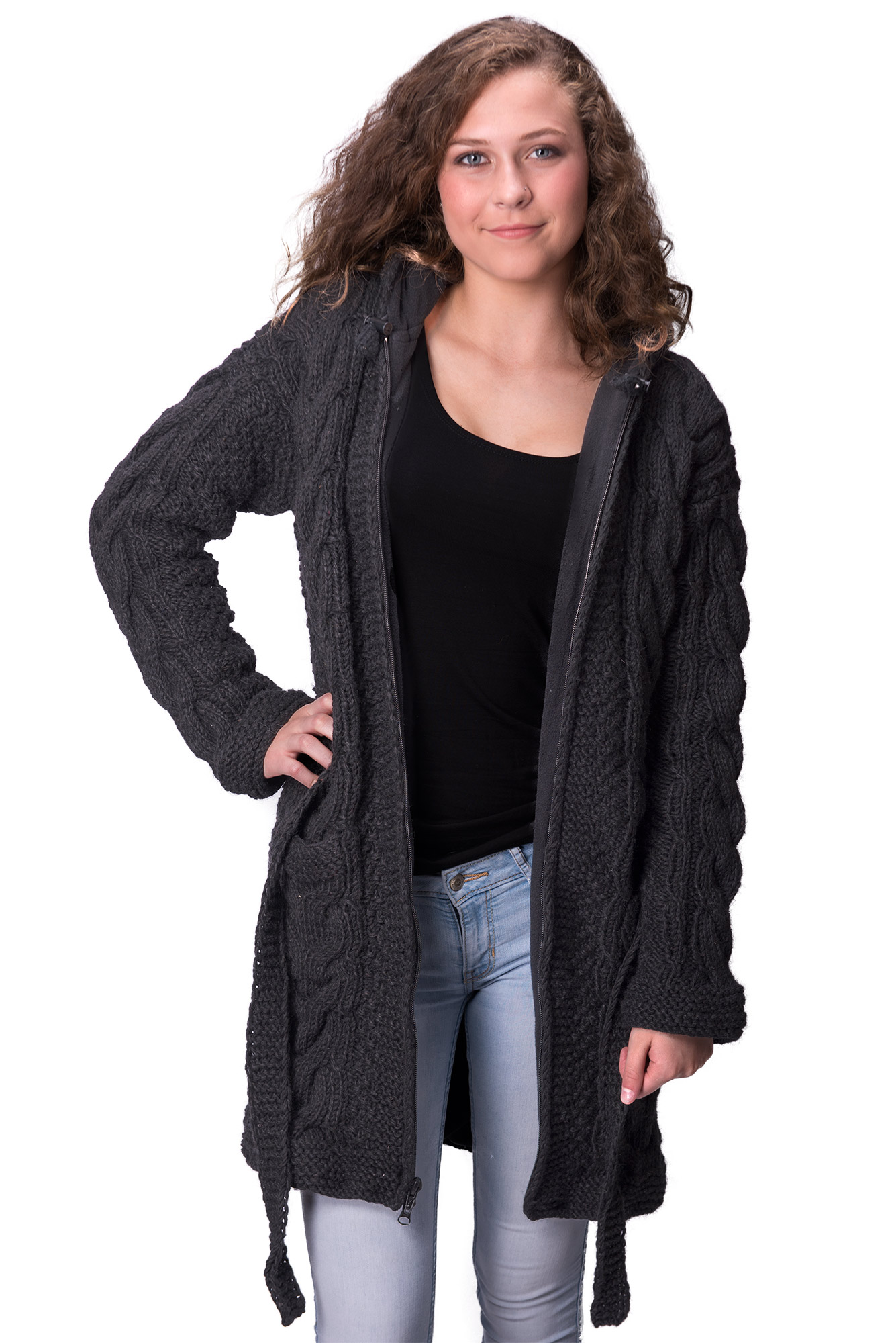 Himalayan Mountain Jacket Full Length Cable Knit, Black