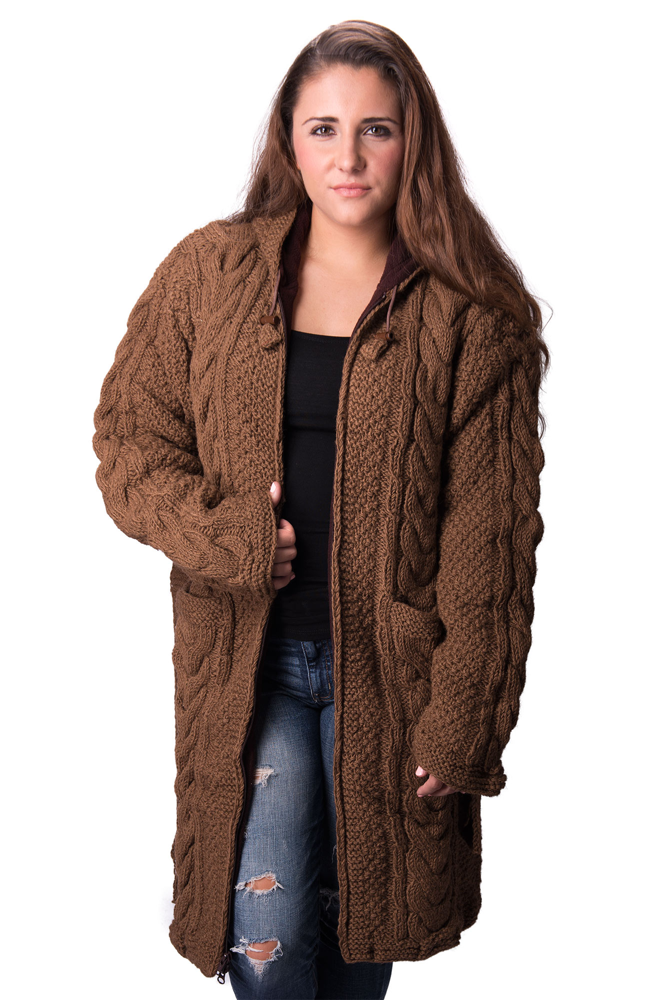 Himalayan Mountain Jacket Full Length Cable Knit, Brown