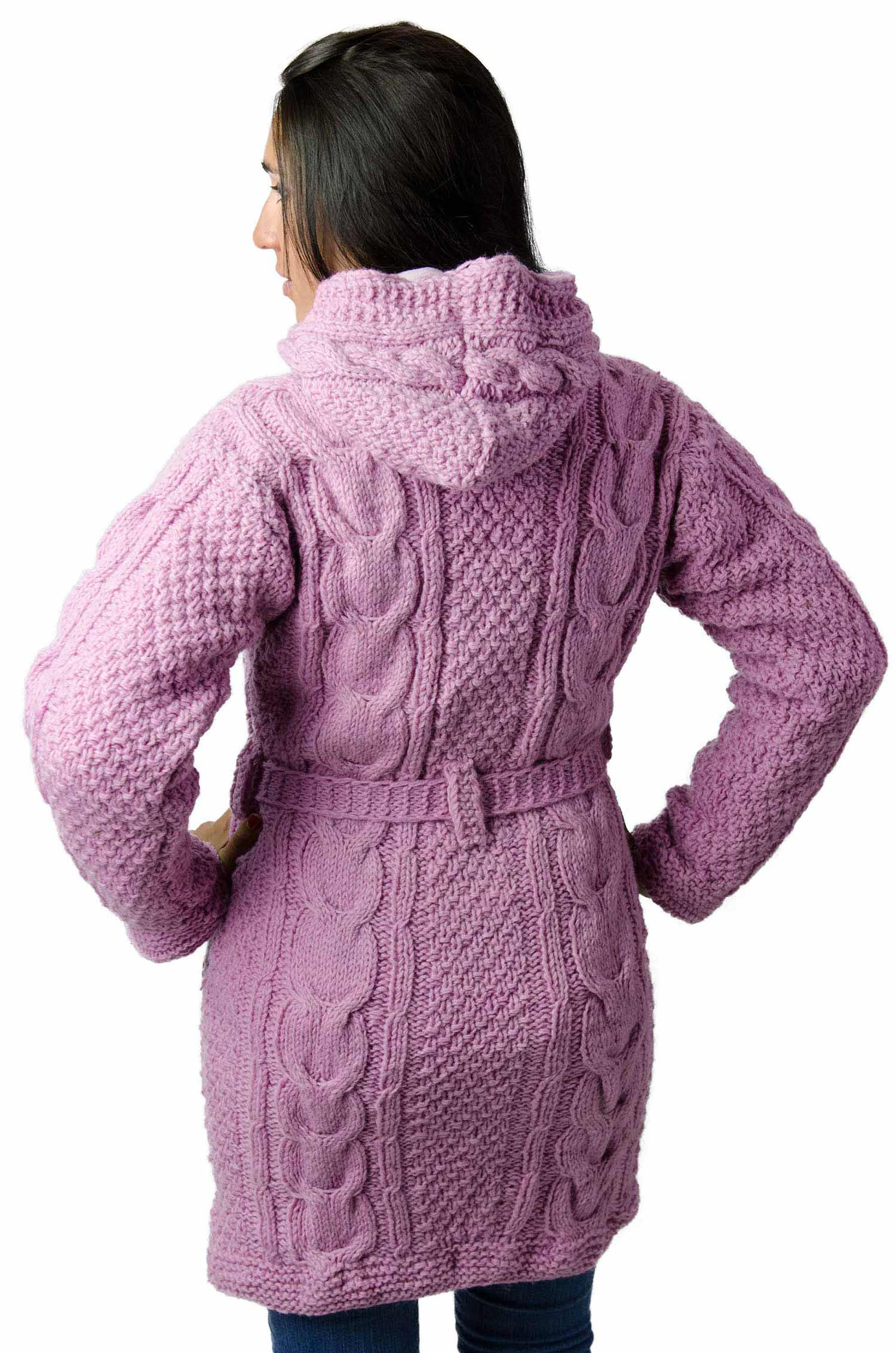 Wool Cable Knit Himalayan Mountain Jacket – Full Length Quite Pink