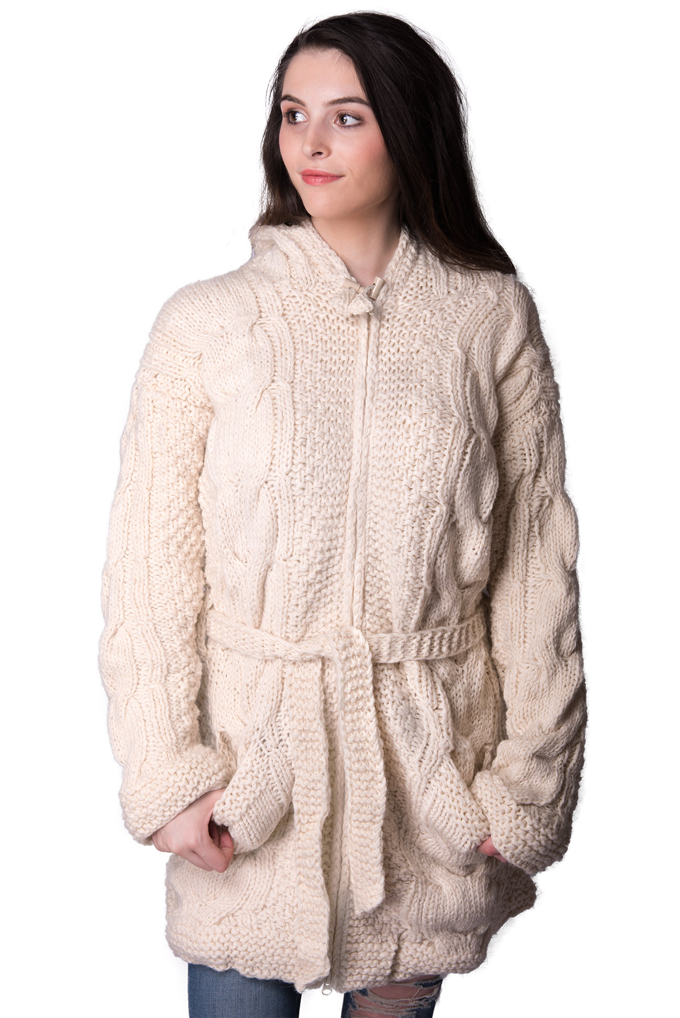 Full Length, Cream Cable Knit