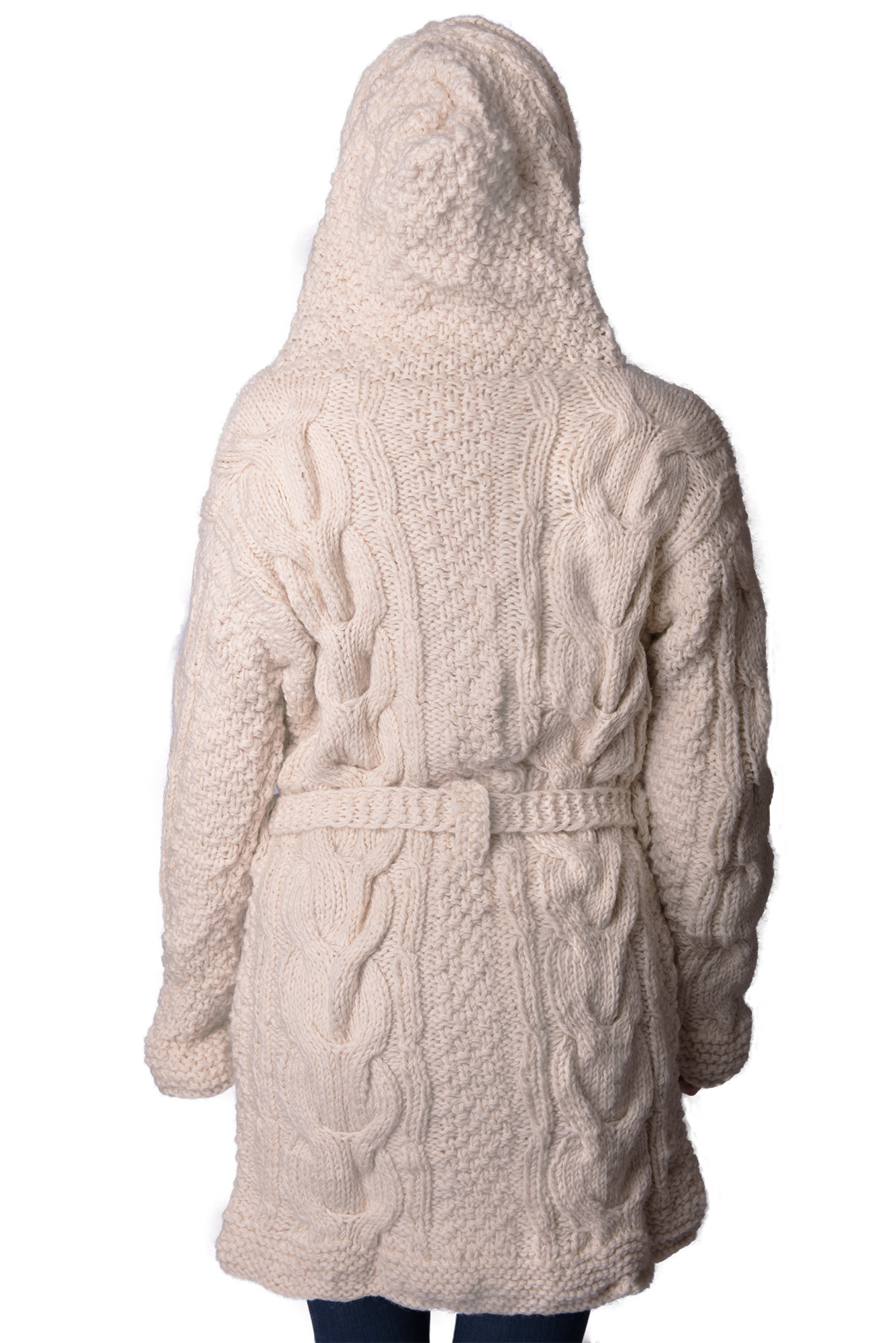 Himalayan Mountain Jacket Full Length Cable Knit, Cream