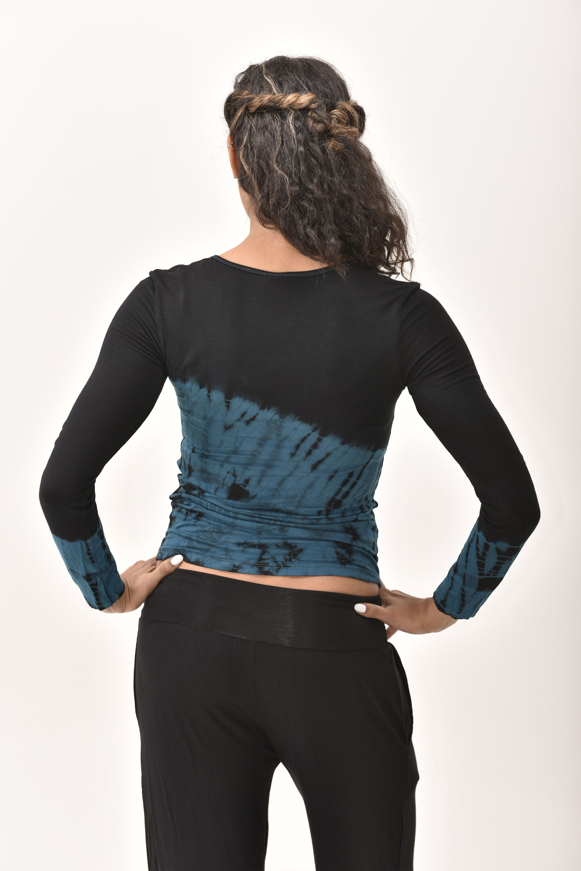 Long Sleeve Tee Hand Painted Tie Dye, Blue Black Multi
