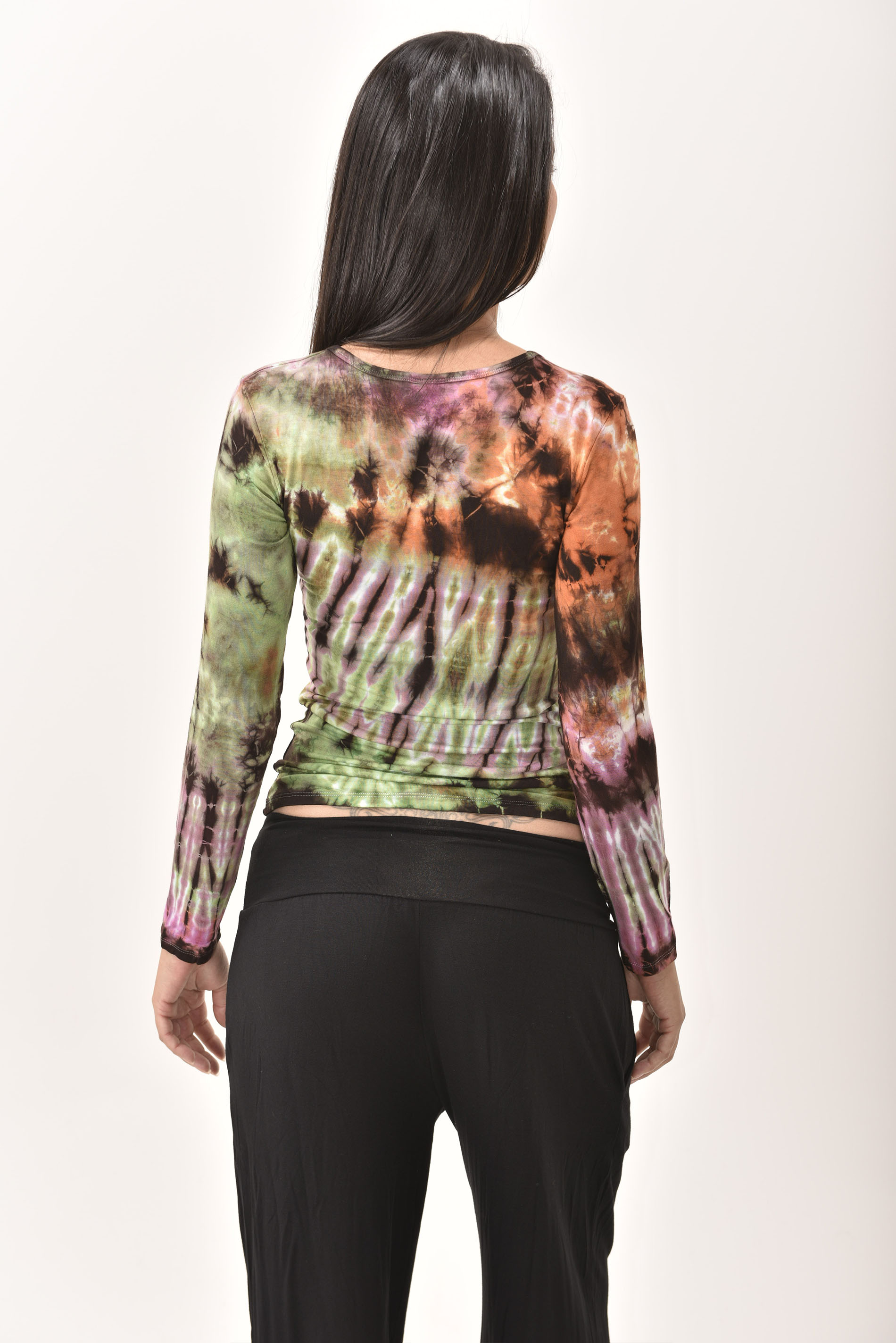 Long Sleeve Tee Hand Painted Tie Dye, Everything Multi